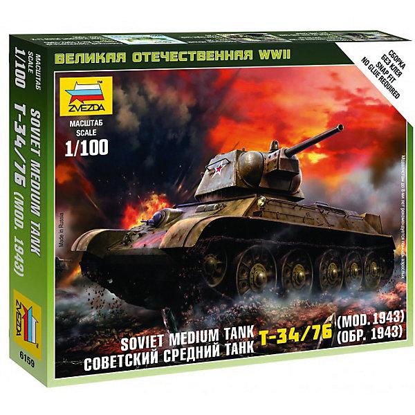 Сборная модель Звезда Советский средний танк Т-34/76, 1:100 (сборка без клея)Военная техника и панорама<br>Характеристики:<br><br>• возраст: от 10 лет;<br>• тип игрушки: сборная модель;<br>• масштаб: 1:100;<br>• материал: пластик;<br>• бренд: Звезда;<br>• длинна: 8 см;<br>• размер: 48,7x8,5x30,7 см;<br>• упаковка: картонная коробка;<br>• страна производитель: Россия.<br><br>Сборная модель от бренда Звезда «Советский средний танк Т-34/76» окажется увлекательной и познавательной игрой для ребенка старше 10 лет. Сборка заставляет сосредоточиться и проявить усидчивость. Набор станет отличным подарком для любого коллекционера моделей военной техники.<br><br>Советский танк считался самым лучшим боевым транспортом Отечественной Войны. ИС-2 предназначалась для уничтожения танков противника и прорыва фортификационных линий. Поэтому игрушечный истребитель танков советских времён понравится не только ребёнку, но и даже взрослому. Ведь готовый собранный истребитель может стать не только игрушкой, но и частью коллекции военной техники.<br><br>Собирая истребитель, ребёнок сможет развить мелкую моторику рук, воображение, двигательную активность рук и усидчивость. Готовую модель можно раскрасить. Краски и кисти в комплект на входят. Собрать модель поможет инструкция по сборке, а также схемы. Детали изготовлены из пластика.<br><br>Сборную модель от бренда Звезда «Советский средний танк Т-34/76» можно купить в нашем интернет-магазине.<br>Ширина мм: 120; Глубина мм: 145; Высота мм: 20; Вес г: 45; Возраст от месяцев: 36; Возраст до месяцев: 180; Пол: Мужской; Возраст: Детский; SKU: 7086468;