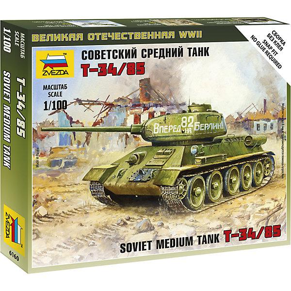 Сборная модель Звезда Советский средний танк Т-34, 1:100 (сборка без клея)Военная техника и панорама<br>Характеристики товара: <br><br>• возраст: от 7 лет;<br>• материал: пластик;<br>• в комплекте: 12 деталей;<br>• масштаб: 1:100;<br>• размер собранной модели: 8 см;<br>• размер упаковки: 15х12х2 см;<br>• вес упаковки: 40 гр.;<br>• страна производитель: Россия.<br><br>Сборная модель Звезда «Советский средний танк Т-34» позволит собрать из деталей уменьшенную копию советского  танка.<br><br>Сборные модели от компании Звезда отличаются высокой степенью детализации и позволяют собирать модели многих популярных видов военной техники. В процессе сборки ребенок расширяет свой кругозор, знакомится с видами техники и историческими фактами, развивает усидчивость, внимательность, аккуратность.<br><br>Сборную модель Звезда «Советский средний танк Т-34» можно приобрести в нашем интернет-магазине.<br><br>Ширина мм: 145<br>Глубина мм: 120<br>Высота мм: 20<br>Вес г: 50<br>Возраст от месяцев: 36<br>Возраст до месяцев: 180<br>Пол: Мужской<br>Возраст: Детский<br>SKU: 7086469