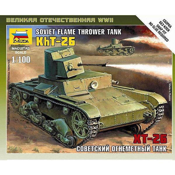 Сборная модель Звезда Советский огнеметный танк Т-26, 1:100 (сборка без клея)Военная техника и панорама<br>Характеристики:<br><br>• возраст: от 10 лет;<br>• тип игрушки: сборная модель танка;<br>• количество деталей: 7;<br>• масштаб: 1:100;<br>• размер: 13,5x14,5x2 см.<br>• длина собранной модели: 4,7 см;<br>• материал: пластик;<br>• бренд: Звезда;<br>• упаковка: подарочная коробка;<br>• страна производитель: Россия.<br><br>Сборная модель Звезда «Советский огнеметный танк Т-26» окажется увлекательной и познавательной игрой для мальчика старше 8 лет.  Огнемётная советская версия танка Т-26 выпускалась небольшими сериями в течение четырёх лет (с 1932 по 1936 года). Данная модель танка показала успешное выполнение прорыва обороны или ведения атак по вражеским укреплениям.<br><br>Сборка деталей осуществляется без использования клея, а после сборки модель можно окрасить. Кисточка и краски не входят в комплект, но их можно приобрести отдельно. Всего в наборе 7 деталей, а в итоге получается модель размером в почти 5 см. Сборка простая, поэтому с ней ребенок справиться самостоятельно. . <br><br>Сборную модель Звезда «Советский огнеметный танк Т-26»  можно купить в нашем интернет-магазине.<br>Ширина мм: 120; Глубина мм: 145; Высота мм: 20; Вес г: 400; Возраст от месяцев: 36; Возраст до месяцев: 180; Пол: Мужской; Возраст: Детский; SKU: 7086471;