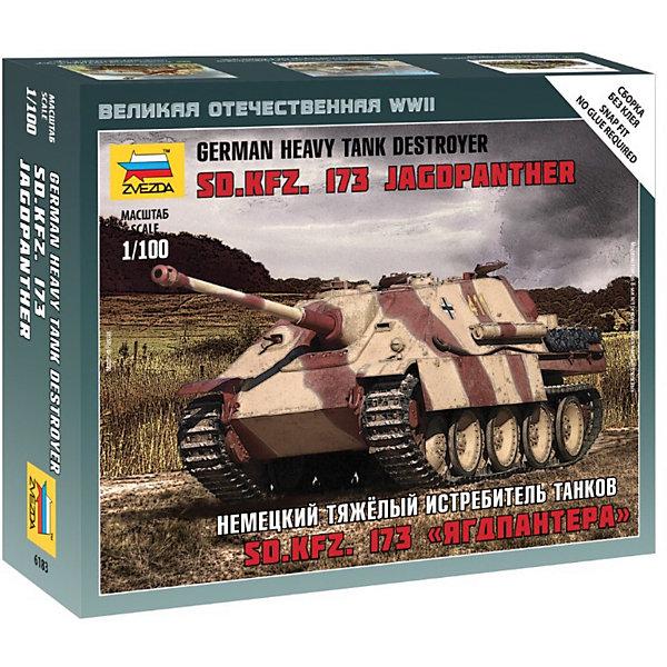 Сборная модель Звезда Немецкия тяжелый истребитель танков Ягдпантера, 1:100 (сборка без клея)Военная техника и панорама<br>Характеристики товара: <br><br>• возраст: от 10 лет;<br>• материал: пластик;<br>• в комплекте: 20 деталей;<br>• размер собранной модели: 10 см;<br>• масштаб: 1:100;<br>• размер упаковки: 14,5х12х2 см;<br>• вес упаковки: 50 гр.;<br>• страна производитель: Россия.<br><br>Сборная модель Звезда «Немецкий тяжелый истребитель танков Ягдпантера» позволит собрать из деталей уменьшенную копию настоящей немецкой артиллерийской установки Ягдпантера, которая сражалась в боях Великой Отечественной войны против советских, английских и американских войск.<br><br>Сборные модели от компании Звезда отличаются высокой степенью детализации и позволяют собирать модели многих популярных видов военной техники. В процессе сборки ребенок расширяет свой кругозор, знакомится с видами техники и историческими фактами, развивает усидчивость, внимательность, аккуратность.<br><br>Сборную модель Звезда «Немецкий тяжелый истребитель танков Ягдпантера» можно приобрести в нашем интернет-магазине.<br><br>Ширина мм: 129<br>Глубина мм: 162<br>Высота мм: 38<br>Вес г: 65<br>Возраст от месяцев: 36<br>Возраст до месяцев: 180<br>Пол: Мужской<br>Возраст: Детский<br>SKU: 7086477