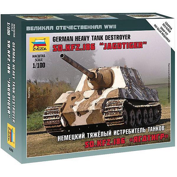 Сборная модель Звезда Немецкий тяжелый истребитель танков Ягдтигр, 1:100 (сборка без клея)Военная техника и панорама<br>Характеристики:<br><br>• возраст: от 8 лет;<br>• тип игрушки: сборная модель;<br>• масштаб: 1:100;<br>• количество деталей: 13;<br>• размер: 13х16,2х4 см; <br>• комплект: 4 солдатика, миномет, отрядная подставка с флагом, карточка отряда;<br>• материал: пластик;<br>• высота: 9,8 см;<br>• бренд: Звезда;<br>• упаковка: картонная коробка;<br>• страна производитель: Россия.<br><br>Сборная модель от бренда Звезда «Немецкий тяжелый истребитель танков Ягдтигр» окажется увлекательной и познавательной игрой для ребенка старше 8 лет. Сборка заставляет сосредоточиться и проявить усидчивость. Набор станет отличным подарком для любого коллекционера моделей военной техники.<br><br>В начале 30-х годов танк считался самым лучшим, но во второй половине 30-х годов модель устарела, так как противопульная броня не могла противостоять попаданию снарядов из специально разработанных противотанковых установок. Но данная модель танка стала символом советского строя и она регулярно используется на парадах. После полной сборки модель можно раскрасить. Модель собирается без клея, в специальные пазы. <br><br>Сборную модель от бренда Звезда «Немецкий тяжелый истребитель танков Ягдтигр» можно купить в нашем интернет-магазине.<br>Ширина мм: 162; Глубина мм: 129; Высота мм: 40; Вес г: 600; Возраст от месяцев: 36; Возраст до месяцев: 180; Пол: Мужской; Возраст: Детский; SKU: 7086490;