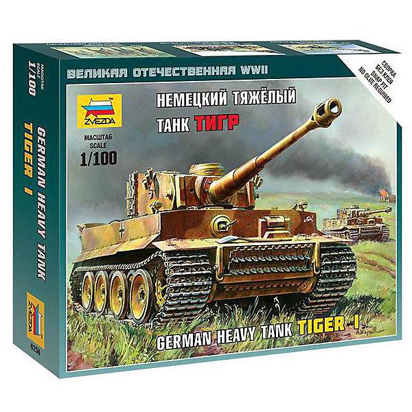 Сборная модель Звезда Немецкия тяжелый танк Т-VI Тигр, 1:100 (сборка без клея)Военная техника и панорама<br>Характеристики:<br><br>• возраст: от 3 лет;<br>• тип игрушки: сборная модель;<br>• масштаб: 1:100;<br>• количество деталей: 13; <br>• размеры: 16x13х4 см;<br>• комплект: детали для сборки, инструкция;<br>• материал: пластик;<br>• высота:  8,2 см;<br>• бренд: Звезда;<br>• упаковка: картонная коробка;<br>• страна производитель: Россия.<br><br>Сборная модель от бренда Звезда «Немецкия тяжелый танк Т-VI Тигр» окажется увлекательной и познавательной игрой для ребенка старше 3 лет. Сборка заставляет сосредоточиться и проявить усидчивость. Набор станет отличным подарком для любого коллекционера моделей военной техники.<br><br> Модель порадует вас высокой степенью соответствия прототипу, высокой детализацией и простотой сборки. Для сборки масштабной модели немецкого танка  не требуется клей. Немецкий танк, изготовленный из прочной пластмассы, выполнен с высокой степенью детализации, что понравится и детям, и взрослым. <br><br>Краски и кисть не входят в комплект, но их можно приобрести отдельно. Клей не входит в комплект набора. Изделие изготовлено из качественного и прочного пластика, безопасного для детей прошедшего сертификацию для производства детских товаров.<br><br>Сборную модель от бренда Звезда «Немецкия тяжелый танк Т-VI Тигр» можно купить в нашем интернет-магазине.<br>Ширина мм: 160; Глубина мм: 130; Высота мм: 40; Вес г: 50; Возраст от месяцев: 36; Возраст до месяцев: 180; Пол: Мужской; Возраст: Детский; SKU: 7086503;