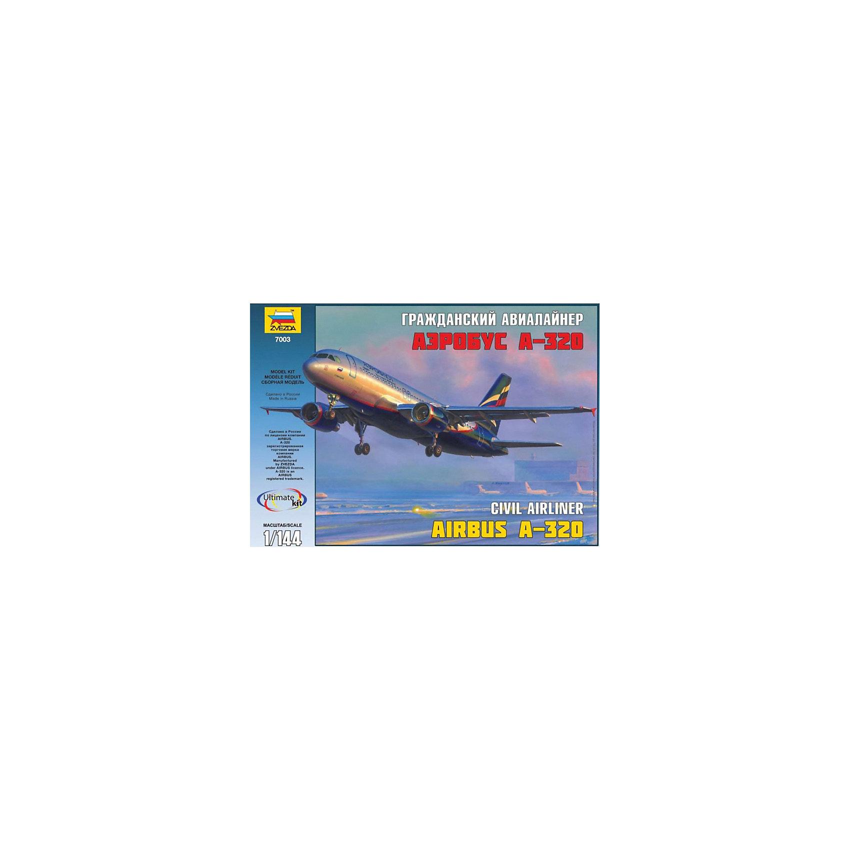 Сборная модель Звезда Пассажирский авиалайнер Аэробус А-320, 1:144Модели для склеивания<br>Модель сборная Пассажирский авиалайнер Аэробус А-320<br><br>Ширина мм: 345<br>Глубина мм: 242<br>Высота мм: 60<br>Вес г: 400<br>Возраст от месяцев: 36<br>Возраст до месяцев: 180<br>Пол: Мужской<br>Возраст: Детский<br>SKU: 7086512