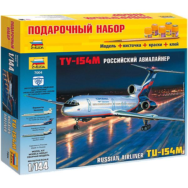 Сборная модель Звезда Пассажирский авиалайнер Ту-154, 1:144 (подарочный набор)Самолеты и вертолеты<br>Характеристики:<br><br>• возраст: от 10 лет;<br>• тип игрушки: сборная модель;<br>• масштаб: 1:144;<br>• материал: пластик;<br>• бренд: Звезда;<br>• упаковка: картонная коробка;<br>• страна производитель: Россия.<br><br>Сборная модель от бренда Звезда «Пассажирский авиалайнер Ту-154» окажется увлекательной и познавательной игрой для ребенка старше 10 лет. Сборка заставляет сосредоточиться и проявить усидчивость. Набор станет отличным подарком для любого коллекционера моделей техники.<br><br>Данная модель авиалайнера является классической, она уже плотно вошла в обиход и пользуется большой популярностью при гражданских перевозках уже более 20 лет. Производится в России и закупается большинством европейских стран как наиболее безопасная и эргономичная модель для пассажирских перевозок.<br><br> Чтобы получить реалистичную копию авиалайнера, необходимо соединить все детали набора четко по инструкции. Затем копию можно будет расскрасить, тем самым сделав ее более реалистичной. Сборка воспитает в ребенке внимательность и усидчивость. Так же в комплекте предусмотрены наклейки и подставка для готовых моделей. <br><br>Сборную модель от бренда Звезда «Пассажирский авиалайнер Ту-154» можно купить в нашем интернет-магазине.<br>Ширина мм: 348; Глубина мм: 60; Высота мм: 315; Вес г: 690; Возраст от месяцев: 36; Возраст до месяцев: 180; Пол: Мужской; Возраст: Детский; SKU: 7086513;
