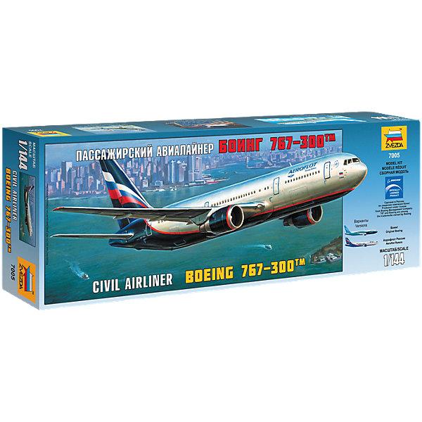 Сборная модель Звезда Пассажирский самолет Боинг 767-300, 1:144Самолеты и вертолеты<br>Характеристики:<br><br>• возраст: от 10 лет;<br>• тип игрушки: сборная модель;<br>• масштаб: 1:144;<br>• материал: пластик;<br>• бренд: Звезда;<br>• упаковка: картонная коробка;<br>• страна производитель: Россия.<br><br>Сборная модель от бренда Звезда «Пассажирский самолет Боинг 767-300» окажется увлекательной и познавательной игрой для ребенка старше 10 лет. Сборка заставляет сосредоточиться и проявить усидчивость. Набор станет отличным подарком для любого коллекционера моделей техники.<br><br>Данная модель боинга является классической, она уже плотно вошла в обиход и пользуется большой популярностью при гражданских перевозках уже более 20 лет. Производится в России и закупается большинством европейских стран как наиболее безопасная и эргономичная модель для пассажирских перевозок.<br><br> Чтобы получить реалистичную копию боинга, необходимо соединить все детали набора четко по инструкции. Затем копию можно будет расскрасить, тем самым сделав ее более реалистичной. Сборка воспитает в ребенке внимательность и усидчивость. Так же в комплекте предусмотрены наклейки и подставка для готовых моделей. <br><br>Сборную модель от бренда Звезда «Пассажирский самолет Боинг 767-300» можно купить в нашем интернет-магазине.<br>Ширина мм: 475; Глубина мм: 65; Высота мм: 160; Вес г: 320; Возраст от месяцев: 36; Возраст до месяцев: 180; Пол: Мужской; Возраст: Детский; SKU: 7086514;