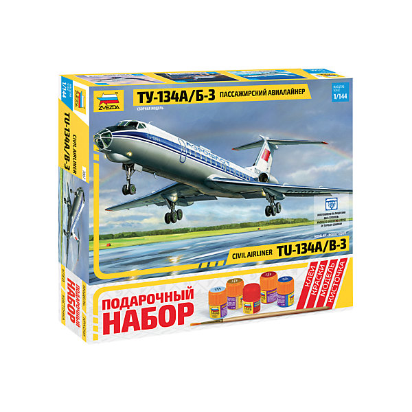 Сборная модель Звезда Пассажирский авиалайнер ТУ-134А/Б-3, 1:144Самолеты и вертолеты<br>Характеристики:<br><br>• возраст: от 8 лет;<br>• тип игрушки: сборная модель авиалайнера;<br>• количество деталей: 58;<br>• масштаб: 1:144;<br>• размер: 20.5x30.2x4.8 см;<br>• длина собранной модели: 28,5 см;<br>• материал: пластик;<br>• бренд: Звезда;<br>• упаковка: картонная коробка;<br>• страна производитель: Россия.<br><br>Сборная модель Звезда «Пассажирский авиалайнер ТУ-134А/Б-3» окажется увлекательной и познавательной игрой для мальчика старше 8 лет. Сборка моделей самолетов – отличный способ развить пространственное и логическое мышление, а также познакомиться с различными видами авиатехники. Прививает практические навыки работы со схемами и чертежами.<br><br>Со сборкой пассажирского авиалайнера Ту-134А/Б-3 самостоятельно может справиться ребенок примерно от 10 лет, для детей помладше может понадобиться помощь взрослых. Помимо деталей для сборки, в комплекте есть и наклейки, с помощью которых вы придадите самолету более реалистичный вид. Масштаб 1 к 144, а готовое изделие составляет почти 30 см. <br> <br>Сборную модель Звезда «Пассажирский авиалайнер ТУ-134А/Б-3»  можно купить в нашем интернет-магазине.<br>Ширина мм: 205; Глубина мм: 304; Высота мм: 50; Вес г: 240; Возраст от месяцев: 36; Возраст до месяцев: 180; Пол: Мужской; Возраст: Детский; SKU: 7086515;