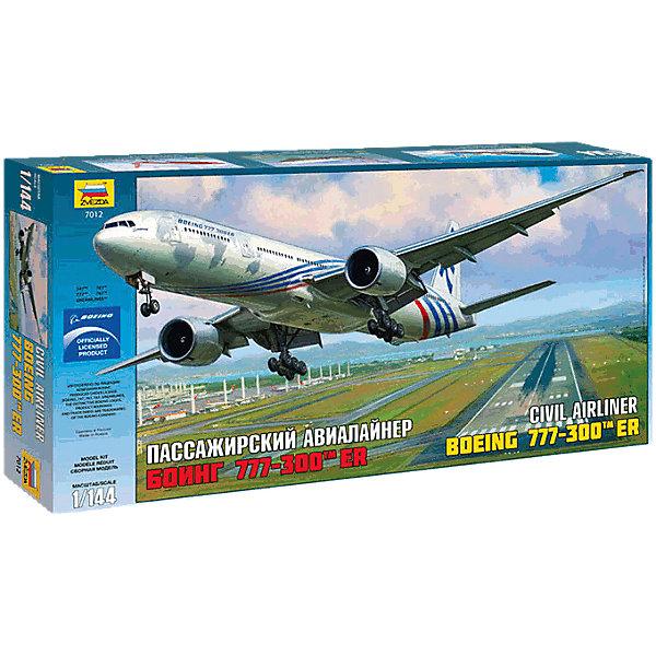 Сборная модель Звезда Пассажирский авиалайнер Боинг-777-300ER, 1:144Самолеты и вертолеты<br>Характеристики:<br><br>• возраст: от 8 лет;<br>• тип игрушки: сборная модель;<br>• масштаб: 1:144;<br>• количество деталей: 147;<br>• размер: 61.5x7.4x31см; <br>• комплект: детали, инструкция по сборке;<br>• материал: пластик;<br>• высота: 51 см;<br>• бренд: Звезда;<br>• упаковка: картонная коробка;<br>• страна производитель: Россия.<br><br>Сборная модель от бренда Звезда «Пассажирский авиалайнер Боинг-777-300ER» окажется увлекательной и познавательной игрой для ребенка старше 8 лет. Сборка заставляет сосредоточиться и проявить усидчивость. Набор станет отличным подарком для любого коллекционера моделей военной техники.<br><br>Производитель порадует любителей гражданской авиации очень качественным набором с богатой деталировкой и точно переданной геометрией прототипа. Изюминкой модели станут лопатки двигателей, которые можно сделать вращающимися.<br><br>Комплект содержит в себе 147 пластиковых деталей без дефектов литья, декаль для одного варианта окраски, подробную инструкцию по сборке. В коробке также есть подставка для готовой модели. Несмотря на масштаб 1:144, самолет будет иметь внушительные размеры. <br><br>Сборную модель от бренда Звезда «Пассажирский авиалайнер Боинг-777-300ER» можно купить в нашем интернет-магазине.<br>Ширина мм: 615; Глубина мм: 310; Высота мм: 74; Вес г: 640; Возраст от месяцев: 36; Возраст до месяцев: 180; Пол: Мужской; Возраст: Детский; SKU: 7086519;