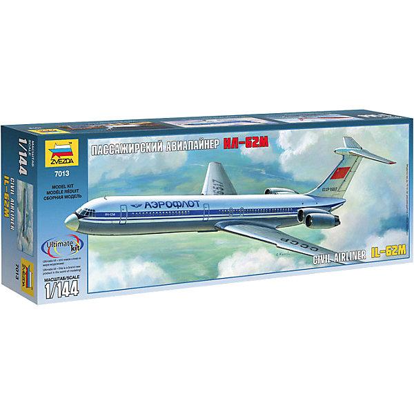 Сборная модель Звезда Советский пассажирский авиалайнер Ил-62М, 1:144Самолеты и вертолеты<br>Характеристики:<br><br>• возраст: от 8 лет;<br>• тип игрушки: сборная модель авиалайнера;<br>• количество деталей: 139;<br>•вес: 400  гр;<br>• масштаб: 1:144;<br>• размер: 16х48х7 см; <br>• длина собранной модели: 37 см;<br>• материал: пластик;<br>• бренд: Звезда;<br>• упаковка: подарочная коробка;<br>• страна производитель: Россия.<br><br>Сборная модель Звезда «Советский пассажирский авиалайнер Ил-62М»  является практически точной копией настоящего лайнера. Точь-в-точь такой же стал одним из первых реактивных самолетов в советское время межконтинентального назначения. Производство начато было в 1967 году по инициативе «Аэрофлота», чтобы осуществлять беспосадочные перелеты. В некоторых модификациях лайнера дальность беспрерывного полета достигала 11 тысяч км. <br><br>На этом самолете был совершен первый перелет через Северный полюс из столицы России (Москва) в город США – Сиэтл. ИЛ-62 часто использовали как государственный спецтранспорт для первых лиц. Такой набор позволит ребенку окунуться в историю и получить новые знания. <br><br>Модель лайнера длиной в 37 см  в наборе имеет наклейки, но дополнительно следует приобрести клей. Также модель можно покрасить в любой цвет. Детали выполнены из особопрочного пластика высокого качества и нетоксичного, а удобная схема будет понятная для любого мальчика. <br><br>Сборную модель Звезда «Советский пассажирский авиалайнер Ил-62М» можно купить в нашем интернет-магазине.<br><br>Ширина мм: 300<br>Глубина мм: 335<br>Высота мм: 60<br>Вес г: 370<br>Возраст от месяцев: 36<br>Возраст до месяцев: 180<br>Пол: Мужской<br>Возраст: Детский<br>SKU: 7086520