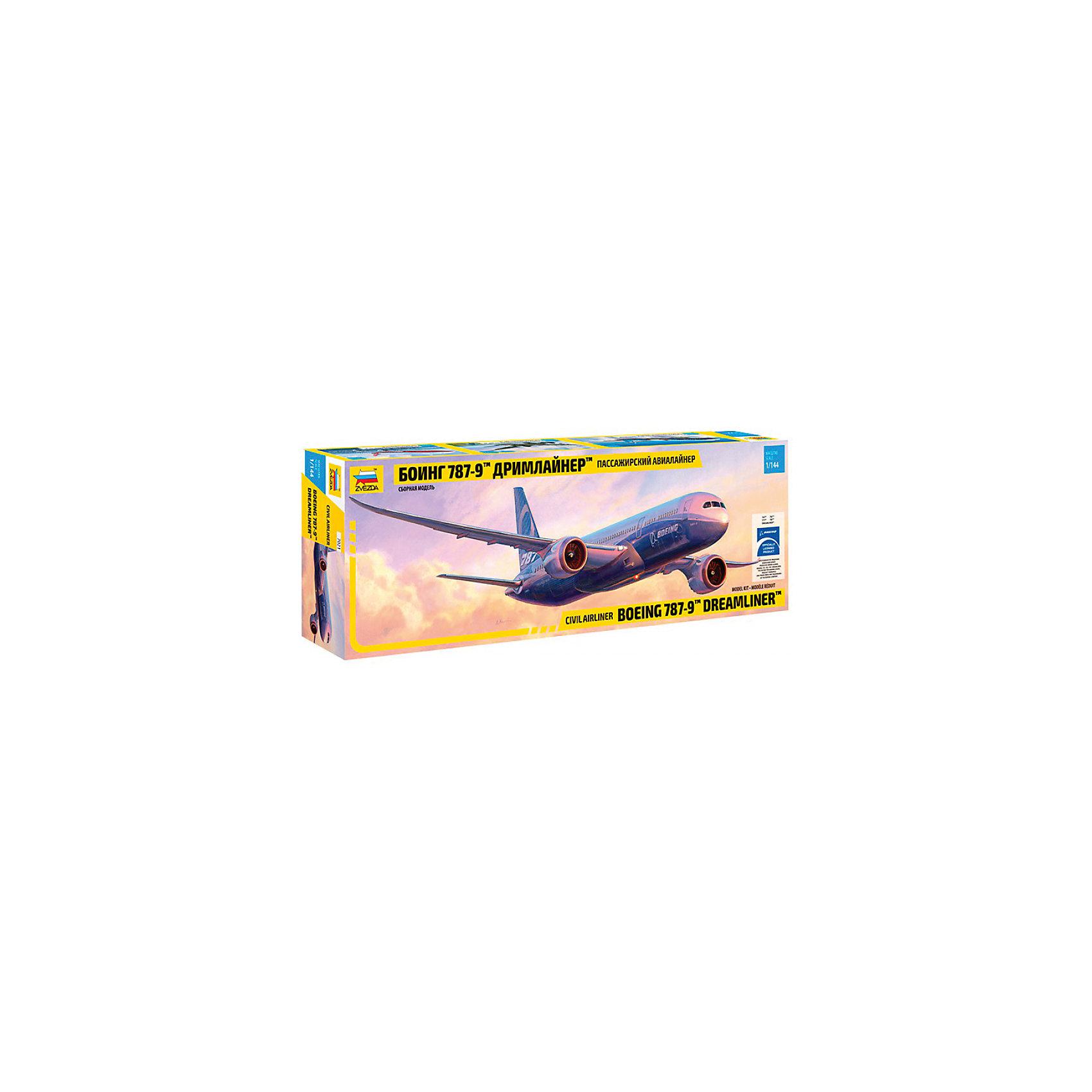 Сборная модель Звезда Самолет Боинг 787-9. Дримлайнер, 1:144Модели для склеивания<br>Модель сборная. Самолёт Боинг 787-9<br><br>Ширина мм: 475<br>Глубина мм: 160<br>Высота мм: 65<br>Вес г: 425<br>Возраст от месяцев: 36<br>Возраст до месяцев: 180<br>Пол: Мужской<br>Возраст: Детский<br>SKU: 7086523