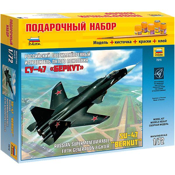 Сборная модель Звезда Самолет СУ Беркут, 1:72 (подарочный набор)Самолеты и вертолеты<br>Характеристики:<br><br>• возраст: от 10 лет;<br>• тип игрушки: сборная модель;<br>• масштаб: 1:72;<br>• материал: пластик; <br>• бренд: Звезда;<br>• длинна: 31 см;<br>• упаковка: картонная коробка;<br>• страна производитель: Россия.<br><br>Сборная модель от бренда Звезда «Самолет СУ Беркут» окажется увлекательной и познавательной игрой для ребенка старше 10 лет. Сборка заставляет сосредоточиться и проявить усидчивость. Набор станет отличным подарком для любого коллекционера моделей военной техники.<br><br>Первый экземпляр самолёта СУ-47 «Беркут» совершил полёт в 1997 году. На борту самолёта находится современное радио-электрооборудование, которое обеспечивает автоматическое управление, что делает полёт не таким утомительным, особенно, если это касается дальних перелётов. <br><br>После сборки самолёт можно раскрасить. В комплекте, кроме деталей самого самолета так же подробная русскоязычная инструкция.<br><br>Масштаб модели - 1:72, длина собранного самолёта 31 см. Для прочности конструкции, собирая модель, детали лучше склеивать между собой. После полной сборки модель можно раскрасить. Но клей, краски и кисточки не предусмотрены в наборе. <br><br>Сборную модель от бренда Звезда «Самолет СУ Беркут» можно купить в нашем интернет-магазине.<br>Ширина мм: 470; Глубина мм: 70; Высота мм: 245; Вес г: 750; Возраст от месяцев: 36; Возраст до месяцев: 180; Пол: Мужской; Возраст: Детский; SKU: 7086527;