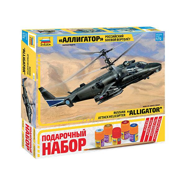 Сборная модель Звезда Вертолет Ка-52 Аллигатор, 1:72 (подарочный набор)Самолеты и вертолеты<br>Характеристики:<br><br>• возраст: от 10 лет;<br>• тип игрушки: сборная модель;<br>• масштаб: 1:72;<br>• количество деталей: 123; <br>• комплект: детали для сборки, 2 фигурки пилотов, базовые краски, клей, кисточка;<br>• материал: пластик;<br>• высота: 21 см;<br>• бренд: Звезда;<br>• упаковка: картонная коробка;<br>• страна производитель: Россия.<br><br>Сборная модель от бренда Звезда «Вертолет Ка-52 Аллигатор» окажется увлекательной и познавательной игрой для ребенка старше 10 лет. Сборка заставляет сосредоточиться и проявить усидчивость. Набор станет отличным подарком для любого коллекционера моделей военной техники.<br><br>Ка-52 «Аллигатор» - двухместная версия вертолета Ка-50, на которой размещено самое современное оборудование, позволяющее работать в любое время суток и в любых условиях. Этот вертолет обладает отличными летными характеристиками, его жизненно важные части хорошо защищены, он может нести большой выбор систем оружия. В набор входит все, необходимое для сборки модели: клей, кисточка, краски.<br><br>Сборную модель от бренда Звезда «Вертолет Ка-52 Аллигатор» можно купить в нашем интернет-магазине.<br>Ширина мм: 306; Глубина мм: 50; Высота мм: 276; Вес г: 540; Возраст от месяцев: 36; Возраст до месяцев: 180; Пол: Мужской; Возраст: Детский; SKU: 7086529;