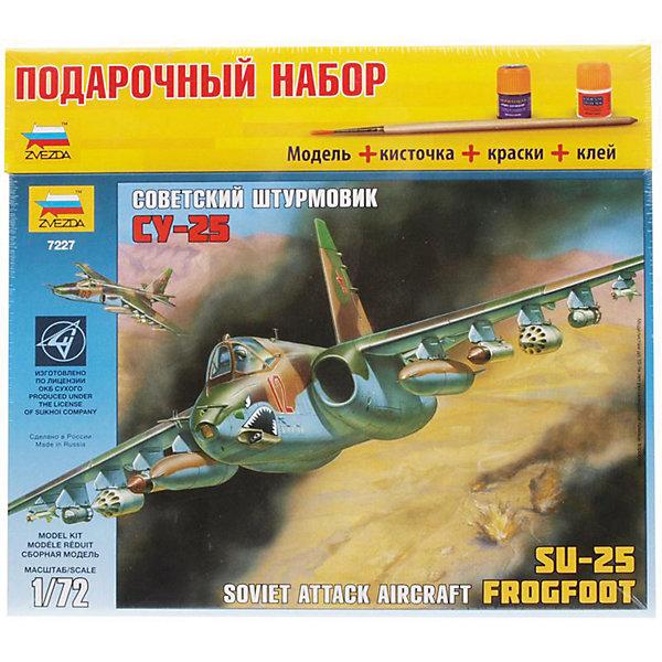 Сборная модель Звезда Самолет Су-25, 1:72 (подарочный набор)Модели для склеивания<br>Характеристики:<br><br>• возраст: от  9 лет;<br>• тип игрушки: сборная модель;<br>• масштаб: 1:72;<br>• размеры: 34x6x31 см;<br>• количество деталей: 86;<br>• комплект: детали для сборки модели, краски, клей, кисти;<br>• материал: пластик;<br>• бренд: Звезда;<br>• упаковка: картонная коробка;<br>• страна производитель: Россия.<br><br>Сборная модель от бренда Звезда «Самолет Су-25» окажется увлекательной и познавательной игрой для ребенка старше 9 лет. Сборка заставляет сосредоточиться и проявить усидчивость. Набор станет отличным подарком для любого коллекционера моделей военной техники.<br><br> Подарочный набор со сборной моделью. Детали модели соединяются с помощью специального клея и раскрашивается специальными красками. Клей, краски и кисточки входят в набор.<br><br>Первый полет самолета, получившего обозначение Су-25, состоялся в феврале 1975 года. На десяти узлах внешней подвески под крыльями Су-25 может нести до 4,4 тонны боевой нагрузки, включающей в себя бомбы, блоки неуправляемых ракет, ракеты класса воздух-поверхность с лазерной системой наведения, контейнеры с пушками.<br><br>Сборную модель от бренда Звезда «Самолет Су-25» можно купить в нашем интернет-магазине.<br><br>Ширина мм: 348<br>Глубина мм: 60<br>Высота мм: 315<br>Вес г: 695<br>Возраст от месяцев: 36<br>Возраст до месяцев: 180<br>Пол: Мужской<br>Возраст: Детский<br>SKU: 7086530