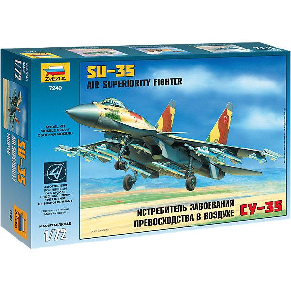 Сборная модель Звезда Самолет Су-35, 1:72Самолеты и вертолеты<br>Характеристики:<br><br>• возраст: от 7 лет;<br>• тип игрушки: сборная модель;<br>• масштаб: 1:72;<br>• количество деталей: 129;<br>• размеры:  34.5x24.2x6 см;<br>• длина собранной модели: 28 см;<br>• материал: пластик;<br>• бренд: Звезда;<br>• упаковка: картонная коробка;<br>• страна производитель: Россия.<br><br>Сборная модель от бренда Звезда «Самолет Су-35» окажется увлекательной и познавательной игрой для ребенка старше 7 лет. Высота игрушки достигает 28 см. Сборка заставляет сосредоточиться и проявить усидчивость. <br><br>Самолет Су-35 - российский сверхманевренный и многоцелевой истребитель 4++ поколения, имеет двигатель с управляемым вектором тяги. Самолет разработан в конструкторском бюро Сухой в 2006 году. Поколение 4++ является условным и показывает лишь то, что его характеристики очень приближены к характеристикам истребителя пятого поколения. Истребитель не имеет равных по спектру применяемого оружия. <br><br>Сборную модель от бренда Звезда «Самолет Су-35» можно купить в нашем интернет-магазине.<br><br>Ширина мм: 345<br>Глубина мм: 60<br>Высота мм: 242<br>Вес г: 325<br>Возраст от месяцев: 36<br>Возраст до месяцев: 180<br>Пол: Мужской<br>Возраст: Детский<br>SKU: 7086535