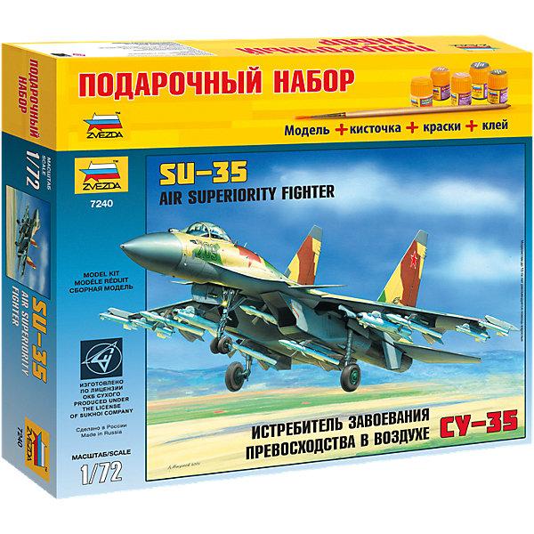 Сборная модель Звезда Самолет Су-35, 1:72 (подарочный набор)Самолеты и вертолеты<br>Характеристики:<br><br>• возраст: от 8 лет;<br>• тип игрушки: сборная модель;<br>• масштаб: 1:72;<br>• количество деталей: 129;<br>• размер: 34.5x24.2x6 см; <br>• комплект: детали для сборки, наклейки, инструкция;<br>• материал: пластик;<br>• высота: 28 см;<br>• бренд: Звезда;<br>• упаковка: картонная коробка;<br>• страна производитель: Россия.<br><br>Сборная модель от бренда Звезда «Самолет Су-35» окажется увлекательной и познавательной игрой для ребенка старше 8 лет. Сборка заставляет сосредоточиться и проявить усидчивость. Набор станет отличным подарком для любого коллекционера моделей военной техники.<br><br>Одноместный истребитель-бомбардировщик Су-35 - результат глубокой модификации Су-27. Су-35 не имеет в настоящее время аналогов по широте применяемого вооружения, предназначенного для действий по воздушным, наземным и морским цепям.<br>В наборе находятся детали, наклейки и подробная инструкция к сборке. Клей и краски можно приобрести отдельно. <br><br>Сборную модель от бренда Звезда «Самолет Су-35» можно купить в нашем интернет-магазине.<br><br>Ширина мм: 348<br>Глубина мм: 60<br>Высота мм: 315<br>Вес г: 775<br>Возраст от месяцев: 36<br>Возраст до месяцев: 180<br>Пол: Мужской<br>Возраст: Детский<br>SKU: 7086536