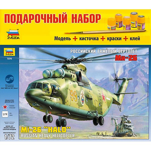 Сборная модель Звезда Вертолет Ми-26, 1:72 (подарочный набор)Самолеты и вертолеты<br>Набор подарочный-сборка Вертолет Ми-26<br><br>Ширина мм: 487<br>Глубина мм: 85<br>Высота мм: 347<br>Вес г: 1030<br>Возраст от месяцев: 36<br>Возраст до месяцев: 180<br>Пол: Мужской<br>Возраст: Детский<br>SKU: 7086541
