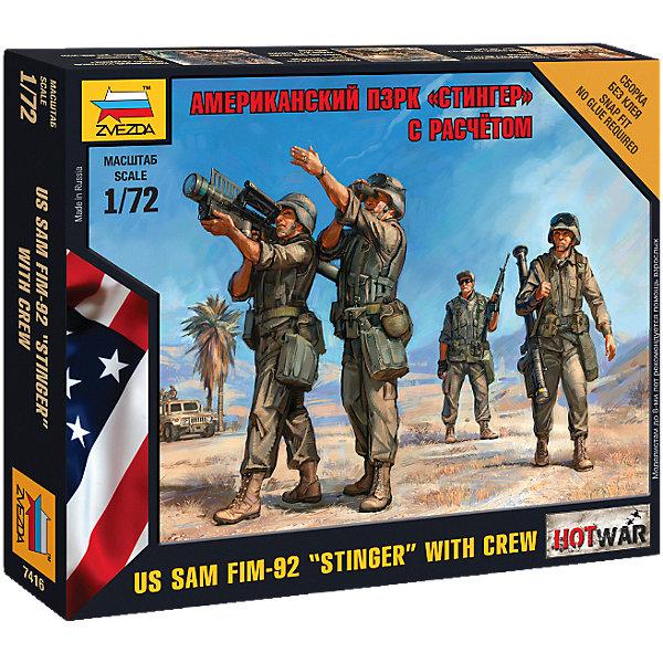 Сборная модель Звезда Американский П3РК. Стингер, 1:72 (сборка без клея)Военная техника и панорама<br>Характеристики:<br><br>• возраст: от 8 лет;<br>• тип игрушки: сборная модель;<br>• масштаб: 1:72;<br>• количество деталей: 18;<br>• размер: 13,7х14,5х2 см; <br>• комплект: 4 солдатика, отрядная подставка с флагом, игровая карточка отряда, инструкция по сборке;<br>• материал: пластик;<br>• высота: 2,4 см;<br>• бренд: Звезда;<br>• упаковка: картонная коробка;<br>• страна производитель: Россия.<br><br>Сборная модель от бренда Звезда «Американский П3РК. Стингер» окажется увлекательной и познавательной игрой для ребенка старше 8 лет. Сборка заставляет сосредоточиться и проявить усидчивость. Набор станет отличным подарком для любого коллекционера моделей военной техники.<br><br>Это переносной зенитный ракетный комплекс (ПЗРК) американского производства. Основное его предназначение - поражение низколетящих воздушных объектов: вертолетов, самолетов и беспилотников. В игровой системе Hot War, где можно использовать данную модель. <br><br>В результате сборки получатся детализированные фигурки 4 солдат в разных позах и подставка с флагом в масштабе 1 к 72. В комплект также включена иллюстрированная инструкция по эксплуатации и подарочная коробка. Кисти, краски, клей в наборе не предусмотрены, поэтому приобретаются пользователем отдельно.<br><br>Сборную модель от бренда Звезда «Американский П3РК. Стингер» можно купить в нашем интернет-магазине.<br><br>Ширина мм: 120<br>Глубина мм: 145<br>Высота мм: 20<br>Вес г: 45<br>Возраст от месяцев: 36<br>Возраст до месяцев: 180<br>Пол: Мужской<br>Возраст: Детский<br>SKU: 7086564