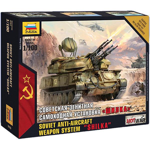 Сборная модель Звезда Советская зенитная САУ Шилка, 1:100 (сборка без клея)Военная техника и панорама<br>Характеристики:<br><br>• возраст: от 10 лет;<br>• тип игрушки: сборная модель;<br>• масштаб: 1:100;<br>• материал: пластик;<br>• бренд: Звезда;<br>• упаковка: картонная коробка;<br>• страна производитель: Россия.<br><br>Сборная модель от бренда Звезда «Советская зенитная САУ Шилка» окажется увлекательной и познавательной игрой для ребенка старше 10 лет. Сборка заставляет сосредоточиться и проявить усидчивость. Набор станет отличным подарком для любого коллекционера моделей военной техники.<br><br>Самоходная зенитная установка под названием «Шилка» была вооружена 23 мм. автоматической пушкой, а скорость стрельбы достигала 340 снарядов за минуту. В серийное производство танк был запушен в 1955 года, а свое название он получил в честь левого притока реки Амур.<br><br>Для прочности конструкции, собирая модель, детали лучше склеивать между собой. Клей в наборе не предоставлен. После полной сборки модель можно раскрасить. Клей, кисточка и краски не входят в комплект. Собрать модель можно по инструкции, которая представлена в наборе. Окрашивается модель так же по инструкции. Модель представлена в масштабе 1 к 100.<br><br>Сборную модель от бренда Звезда «Советская зенитная САУ Шилка» можно купить в нашем интернет-магазине.<br>Ширина мм: 162; Глубина мм: 129; Высота мм: 38; Вес г: 55; Возраст от месяцев: 36; Возраст до месяцев: 180; Пол: Мужской; Возраст: Детский; SKU: 7086566;
