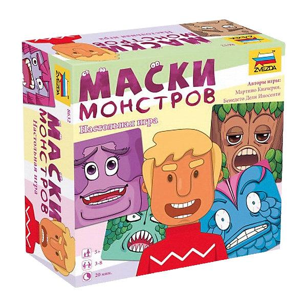 Настольная игра Звезда Маски монстровНастольные игры для всей семьи<br>Характеристики:<br><br>• возраст: от 5 лет;<br>• тип игрушки: настольная игра;<br>• количество предполагаемых игроков: 3-8;<br>• размер: 7x16x16 см;<br>• комплект: 64 карточки;<br>• материал: картон, пластик;<br>• бренд: Звезда;<br>• упаковка: картонная коробка;<br>• страна производитель: Россия.<br><br>Настольная игра Звезда «Маски монстров» поможет детям с пользой провести свой досуг, изучая новое и просто весело проводя время. Набор подходит для детей от 5 лет и позволяет подключить в игру до 4 игроков. <br><br>В комплекте представлены красочные карточки с портретами монстров, обитающих на таинственном острове. Именно в этих персонажей крохам предстоит перевоплощаться, а другие участники игры должны угадать, какая же эмоция была отражена на попавшейся игроку маске. Для этого ведущему игроку необходимо проявить максимум артистизма и мастерство пантомимы, развивая таким образом в себе актерские способности и поднимая настроение окружающим.<br><br>Настольную игру Звезда «Маски монстров» можно купить в нашем интернет-магазине.<br>Ширина мм: 165; Глубина мм: 165; Высота мм: 70; Вес г: 244; Возраст от месяцев: 72; Возраст до месяцев: 180; Пол: Унисекс; Возраст: Детский; SKU: 7086569;