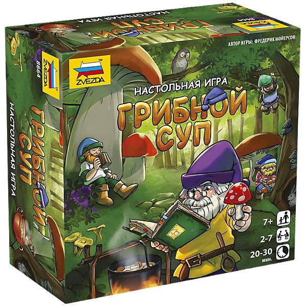 Настольная игра Звезда Грибной супНастольные игры для всей семьи<br>Характеристики:<br><br>• возраст: от 7 лет;<br>• тип игрушки: настольная игра;<br>• количество предполагаемых игроков: 2-7;<br>• размер:  16х16х7 см.<br>• комплект: 100 игровых карточек, 7 фишек гномов , 49 жетонов гномов<br>• материал: картон, пластик;<br>• бренд: Звезда;<br>• упаковка: картонная коробка;<br>• страна производитель: Россия.<br><br>Настольная игра Звезда «Грибной суп» поможет детям с пользой провести свой досуг, изучая новое и просто весело проводя время. Набор подходит для детей от 7 лет и позволяет подключить в игру до 7 игроков. <br><br>Суть настольной игры  состоит в том, что игрокам надо собрать необходимые для приготовления блюда ингредиенты. Сложность заключается в том, что каждый игрок знает только один ингредиент, а остальные нужно выведать от соперников. В данную игру можно играть как в паре, так и в компании. Каждый участник игры будет играть за определенный клан гномов, чьи секреты необходимо скрыть от других игроков. В наборе 100 игровых карточек, 7 фишек гномов и 49 жетонов. <br><br>Настольную игру Звезда «Грибной суп» можно купить в нашем интернет-магазине.<br><br>Ширина мм: 160<br>Глубина мм: 160<br>Высота мм: 70<br>Вес г: 300<br>Возраст от месяцев: 72<br>Возраст до месяцев: 180<br>Пол: Унисекс<br>Возраст: Детский<br>SKU: 7086570