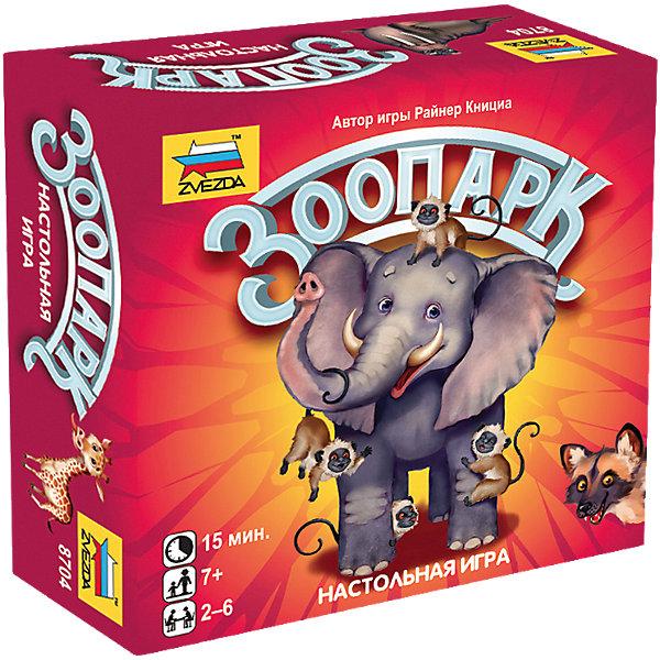 Настольная игра Звезда ЗоопаркНастольные игры для всей семьи<br>Характеристики:<br><br>• возраст: от 7 лет;<br>• тип игрушки: настольная игра;<br>• количество предполагаемых игроков: 2-6;<br>• размер: 11x11x4 см;<br>• комплект: 60 карточек;<br>• материал: картон;<br>• бренд: Звезда;<br>• упаковка: картонная коробка;<br>• страна производитель: Россия.<br><br>Настольная игра Звезда «Зоопарк» представлена красочными карточками с изображением животных и карточек памяток. Дети весело проведут свой досуг, отбирая животных в свой зоопарк и получая призовые очки. Победителем станет самый расчётливый и удачливый участник, у которого к финалу игры будет набольшее количество очков.<br><br>Набор подходит для детей от 7 лет и позволяет подключить в игру до 6 игроков. Веселая игра позволит расширить кругозор. Кроме того, можно менять сложность игры – всего их 3. Главная цель игры – набрать как можно больше карточек. Подробные правила игры с цветными иллюстрациями находятся в комплекте Карты исполнены из плотного и качественного картона.<br><br>Настольную игру Звезда «Зоопарк»можно купить в нашем интернет-магазине.<br>Ширина мм: 115; Глубина мм: 115; Высота мм: 42; Вес г: 160; Возраст от месяцев: 72; Возраст до месяцев: 180; Пол: Унисекс; Возраст: Детский; SKU: 7086572;