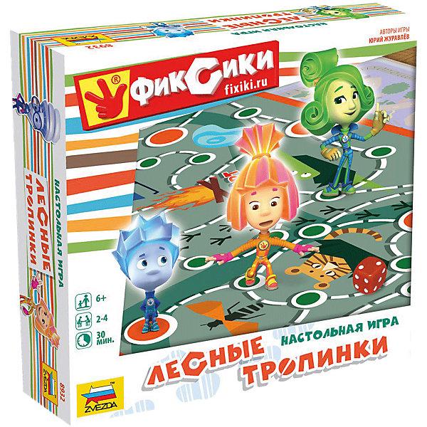 Настольная игра Звезда Фиксики. Лесные тропинкиНастольные игры ходилки<br>Характеристики:<br><br>• возраст: от 6 лет;<br>• тип игрушки: настольная игра;<br>• количество предполагаемых игроков: 2-4;<br>• размер:  24,5х24,5х5,5см;<br>• комплект: игровое поле, 4 фишки героев, 45 игровых жетона, игровая карточка, кубик D6, правила игры;<br>• материал: картон, пластик;<br>• бренд: Звезда;<br>• упаковка: картонная коробка;<br>• страна производитель: Россия.<br><br>Настольная игра Звезда «Фиксики. Лесные тропинки» поможет детям с пользой провести свой досуг, изучая новое и просто весело проводя время. Набор подходит для детей от 6 лет и позволяет подключить в игру до 4 игроков. <br><br>Суть настольной игры  состоит, что фиксики попадают в город и путешествуют по нему, изучая разные ситуации и попадая происшествия. Справочник подскажет, что повстречалось фиксикам на пути. В набор входит игровое поле, 4 фишки героев, 45 игровых жетона, игровая карточка, кубик D6, правила игры.<br><br>Настольную игру Звезда «Фиксики. Лесные тропинки» можно купить в нашем интернет-магазине.<br>Ширина мм: 245; Глубина мм: 245; Высота мм: 55; Вес г: 630; Возраст от месяцев: 72; Возраст до месяцев: 180; Пол: Унисекс; Возраст: Детский; SKU: 7086578;