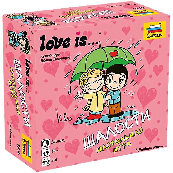 Настольная игра Звезда Love is … ШалостиНастольные игры для всей семьи<br>Характеристики:<br><br>• возраст: от 10 лет;<br>• тип игрушки: настольная игра;<br>• количество предполагаемых игроков: 3-6;<br>• размер: 11x11x4 см;<br>• комплект: 60 карточек;<br>• материал: картон;<br>• бренд: Звезда;<br>• упаковка: картонная коробка;<br>• страна производитель: Россия.<br><br>Настольная игра Звезда «Love is … Шалости» выполнена по мотивам комикса Love is... новозеландской художницы Ким Касали, который стал известен благодаря вкладышам одноименной жевательной резинки. Особенно такой набор понравиться девочкам, которые любят собирать фантики. <br><br>В набор входит 60 различных карточек и руководство по игре. Карточки представляют собой рисунки с комедийными ситуациями главных героев комикса. С ними возможно играть в 2 разные игры. Максимально в игру может быть вовлечено 6 человек и один кон можно провести за 20 минут. В наборе находятся 60 карт для игры и подробные правила. <br><br>Настольную игру Звезда «Love is … Шалости» можно купить в нашем интернет-магазине.<br>Ширина мм: 110; Глубина мм: 110; Высота мм: 40; Вес г: 250; Возраст от месяцев: 120; Возраст до месяцев: 180; Пол: Унисекс; Возраст: Детский; SKU: 7086580;