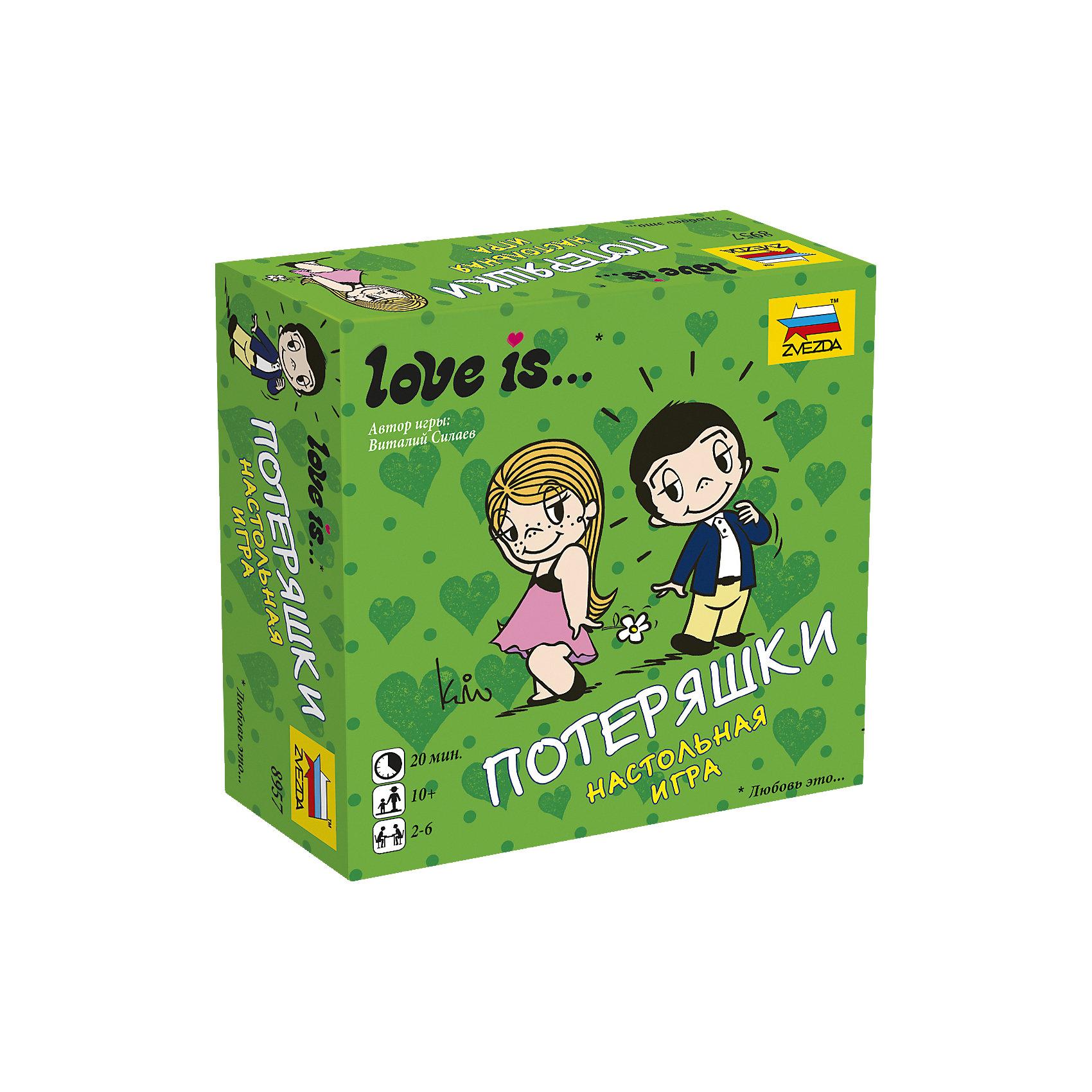 Настольная игра Звезда Love is… ПотеряшкиНастольные игры для всей семьи<br>Игра настольная Love is… Потеряшки<br><br>Ширина мм: 110<br>Глубина мм: 110<br>Высота мм: 40<br>Вес г: 250<br>Возраст от месяцев: 120<br>Возраст до месяцев: 180<br>Пол: Унисекс<br>Возраст: Детский<br>SKU: 7086581