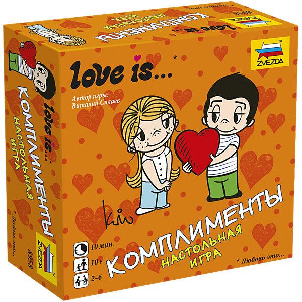 Настольная игра Звезда Love is … КомплиментыНастольные игры для всей семьи<br>Характеристики:<br><br>• возраст: от 10 лет;<br>• тип игрушки: настольная игра;<br>• количество предполагаемых игроков: 2-6;<br>• размер:  11х11х4 см.<br>• комплект: 60 карточек с заданиями;<br>• материал: картон, пластик;<br>• бренд: Звезда;<br>• упаковка: картонная коробка;<br>• страна производитель: Россия.<br><br>Настольная игра Звезда «Love is … Комплименты» поможет детям с пользой провести свой досуг, изучая новое и просто весело проводя время. Набор подходит для детей от 10 лет и позволяет подключить в игру до 6 игроков. <br><br>Суть настольной игры  состоит в том, что игрокам нужно собрать коллекцию различных интригующих ситуаций, используя хитрости обмена и делая комплименты друзьям. Есть и другие правила (в комплекте), но эти самые простые. Победителем признается самый активный игрок. В набор входит 60 карточек.<br><br>Настольную игру Звезда «Love is … Комплименты» можно купить в нашем интернет-магазине.<br>Ширина мм: 110; Глубина мм: 110; Высота мм: 40; Вес г: 250; Возраст от месяцев: 120; Возраст до месяцев: 180; Пол: Унисекс; Возраст: Детский; SKU: 7086582;