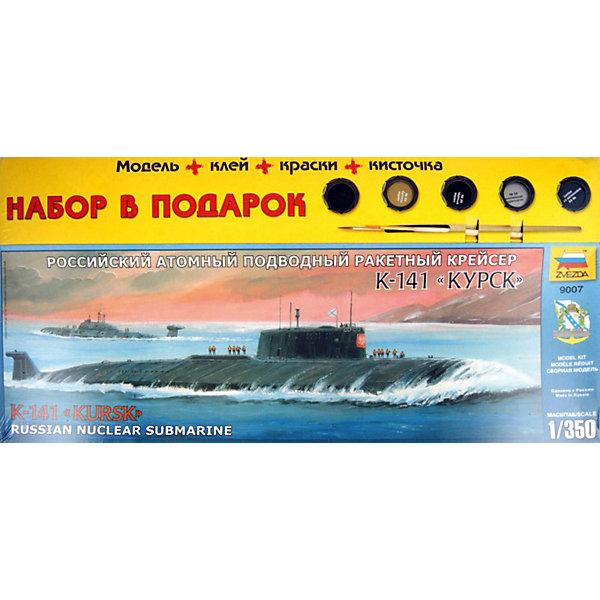 Сборная модель Звезда Российская АПЛ Курск, 1:350 (подарочный набор)Корабли и подводные лодки<br>Характеристики товара: <br><br>• возраст: от 10 лет;<br>• материал: пластик;<br>• в комплекте: детали для сборки, клей, кисточка, краски;<br>• масштаб: 1:350;<br>• размер упаковки: 47х35х6 см;<br>• вес упаковки: 580 гр.;<br>• страна производитель: Россия.<br><br>Сборная модель Звезда «Российская АПЛ Курск» позволит собрать из деталей уменьшенную копию атомной подводной лодки Курск, трагически погибшей в 2000 году. Все детали соединяются между собой при помощи клея. В набор входят краски для окрашивания готовой модели.<br><br>Сборные модели от компании Звезда отличаются высокой степенью детализации и позволяют собирать модели многих популярных видов военной техники. В процессе сборки ребенок расширяет свой кругозор, знакомится с видами техники и историческими фактами, развивает усидчивость, внимательность, аккуратность.<br><br>Сборную модель Звезда «Российская АПЛ Курск» можно приобрести в нашем интернет-магазине.<br><br>Ширина мм: 475<br>Глубина мм: 65<br>Высота мм: 230<br>Вес г: 690<br>Возраст от месяцев: 36<br>Возраст до месяцев: 180<br>Пол: Мужской<br>Возраст: Детский<br>SKU: 7086588