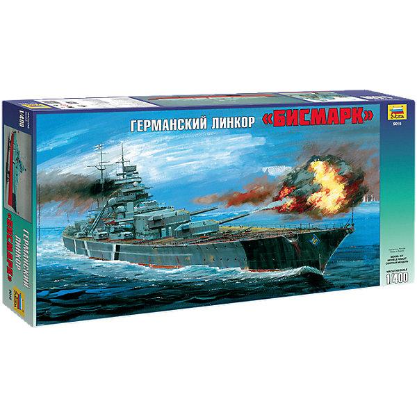Сборная модель Звезда Корабль Линкор Бисмарк, 1:400Корабли и подводные лодки<br>Характеристики:<br><br>• возраст: от 6 лет;<br>• тип игрушки: сборная модель корабля;<br>• количество деталей: 349;<br>• масштаб: 1:400;<br>• размер: 61.5x7.4x31 см;<br>• длина собранной модели: 62 см;<br>• материал: пластик;<br>• бренд: Звезда;<br>• упаковка: подарочная коробка;<br>• страна производитель: Россия.<br><br>Сборная модель Звезда «Корабль Линкор Бисмарк» окажется увлекательной и познавательной игрой для мальчика старше 6 лет. Сборная модель немецкого линкора времен Второй Мировой Войны поможет ребенку углубиться в историю и расширить кругозор. Модель состоит из 349 деталей, скрепленных между собой.  Краски и клей для сборки модели в комплект не входят.<br><br>Линкор «Бисмарк» - гордость немецких военно-морских сил, был спущен на воду в 1939 году. Полное водоизмещение корабля составляло 50 300 тонн, скорость - 30 узлов.  Вооружение состояло их восьми 8x380-мм, двенадцати 150-мм и шестнадцати 105-мм орудий.<br><br>Сборную модель Звезда «Корабль Линкор Бисмарк»  можно купить в нашем интернет-магазине.<br>Ширина мм: 615; Глубина мм: 310; Высота мм: 74; Вес г: 870; Возраст от месяцев: 36; Возраст до месяцев: 180; Пол: Мужской; Возраст: Детский; SKU: 7086590;