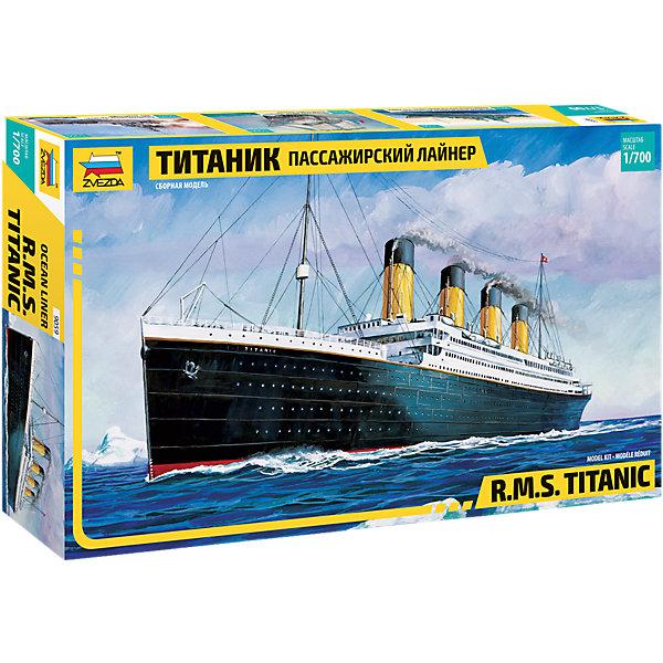 Сборная модель Звезда Пассажирский лайнер Титаник, 1:700Корабли и подводные лодки<br>Характеристики товара: <br><br>• возраст: от 6 лет;<br>• материал: пластик;<br>• в комплекте: 150 деталей;<br>• масштаб: 1:700;<br>• размер собранной модели: 38,4 см;<br>• размер упаковки: 24,5х40х7,2 см;<br>• вес упаковки: 490 гр.;<br>• страна производитель: Россия.<br><br>Сборная модель Звезда «Пассажирский лайнер Титаник» позволит собрать из деталей уменьшенную копию  самого известного лайнера в истории.<br><br>Сборные модели от компании Звезда отличаются высокой степенью детализации и позволяют собирать модели многих популярных видов военной техники. В процессе сборки ребенок расширяет свой кругозор, знакомится с видами техники и историческими фактами, развивает усидчивость, внимательность, аккуратность.<br><br>Сборную модель Звезда «Пассажирский лайнер Титаник» можно приобрести в нашем интернет-магазине.<br><br>Ширина мм: 400<br>Глубина мм: 242<br>Высота мм: 70<br>Вес г: 420<br>Возраст от месяцев: 36<br>Возраст до месяцев: 180<br>Пол: Мужской<br>Возраст: Детский<br>SKU: 7086603