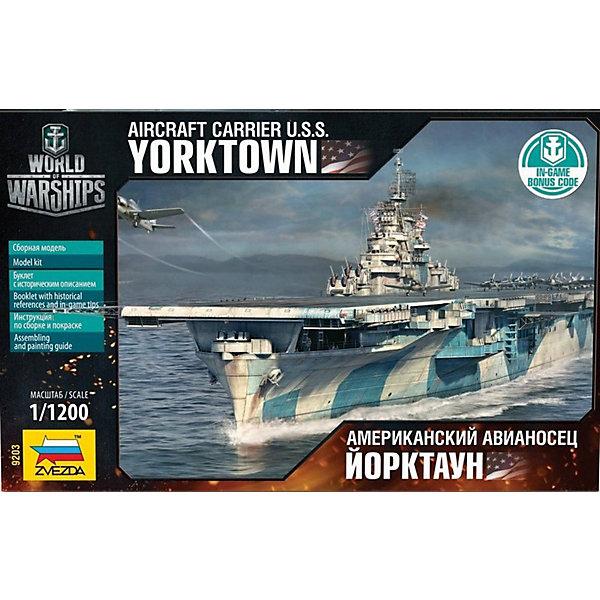 Сборная модель Звезда Американский авианосец Йорктаун, 1:200Корабли и подводные лодки<br>Характеристики:<br><br>• возраст: от 8 лет;<br>• тип игрушки: сборная модель авианосца;<br>• количество деталей: 49;<br>• масштаб: 1:200;<br>• размер: 26х16х 4 см;<br>• длина собранной модели: 20 см;<br>• материал: пластик;<br>• бренд: Звезда;<br>• упаковка: картонная коробка;<br>• страна производитель: Россия.<br><br>Сборная модель Звезда «Американский авианосец Йорктаун» окажется увлекательной и познавательной игрой для мальчика старше 8 лет. Этот авианосец перенёс не одно сражение и внёс немалый вклад в победу США над Японией. Его первая битва была в Коралловом море. Йорктаун не только пережил попадание 250 килограммовой бомбы, но и потопил лёгкий японский авианосец. А вернувшись в строй, стал участником легендарного сражения за Мидуэй.<br><br>Модель выполнена на высочайшем уровне.  Набор подойдет в качестве подарка для любого мальчика от 8 лет. Комплектуется из 49 пластмассовых деталей. Набор собирается без клея. Сборные модели развивают интеллектуальные и инструментальные способности, воображение и конструктивное мышление. Прививает практические навыки работы со схемами и чертежами.<br><br> Сборную модель Звезда «Американский авианосец Йорктаун»  можно купить в нашем интернет-магазине.<br>Ширина мм: 258; Глубина мм: 162; Высота мм: 38; Вес г: 950; Возраст от месяцев: 36; Возраст до месяцев: 180; Пол: Мужской; Возраст: Детский; SKU: 7086606;