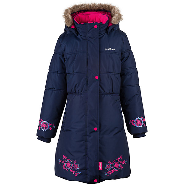 Пальто Premont для девочкиВерхняя одежда<br>Характеристики товара:<br><br>• цвет: синий<br>• состав ткани: Taslan<br>• подкладка: Polar fleece, Taffeta<br>• утеплитель: Tech-polyfill<br>• сезон: зима<br>• мембранное покрытие<br>• температурный режим: от -30 до +5<br>• водонепроницаемость: 5000 мм <br>• паропроницаемость: 5000 г/м2<br>• плотность утеплителя: 280 г/м2<br>• капюшон: съемный<br>• искусственный мех на капюшоне отстегивается<br>• застежка: молния<br>• страна бренда: Канада<br>• страна изготовитель: Китай<br><br>Модное детское пальто сделано с применением инновационной мембранной технологии. Зимнее пальто дополнено планкой от ветра, светоотражающими элементами и удобными карманами. Мембранное детское пальто украшено вышивкой.<br><br>Пальто для девочки Premont (Премонт) можно купить в нашем интернет-магазине.<br>Ширина мм: 356; Глубина мм: 10; Высота мм: 245; Вес г: 519; Цвет: синий; Возраст от месяцев: 72; Возраст до месяцев: 84; Пол: Женский; Возраст: Детский; Размер: 122,128,116,110,164,158,152,146,140,74; SKU: 7088265;