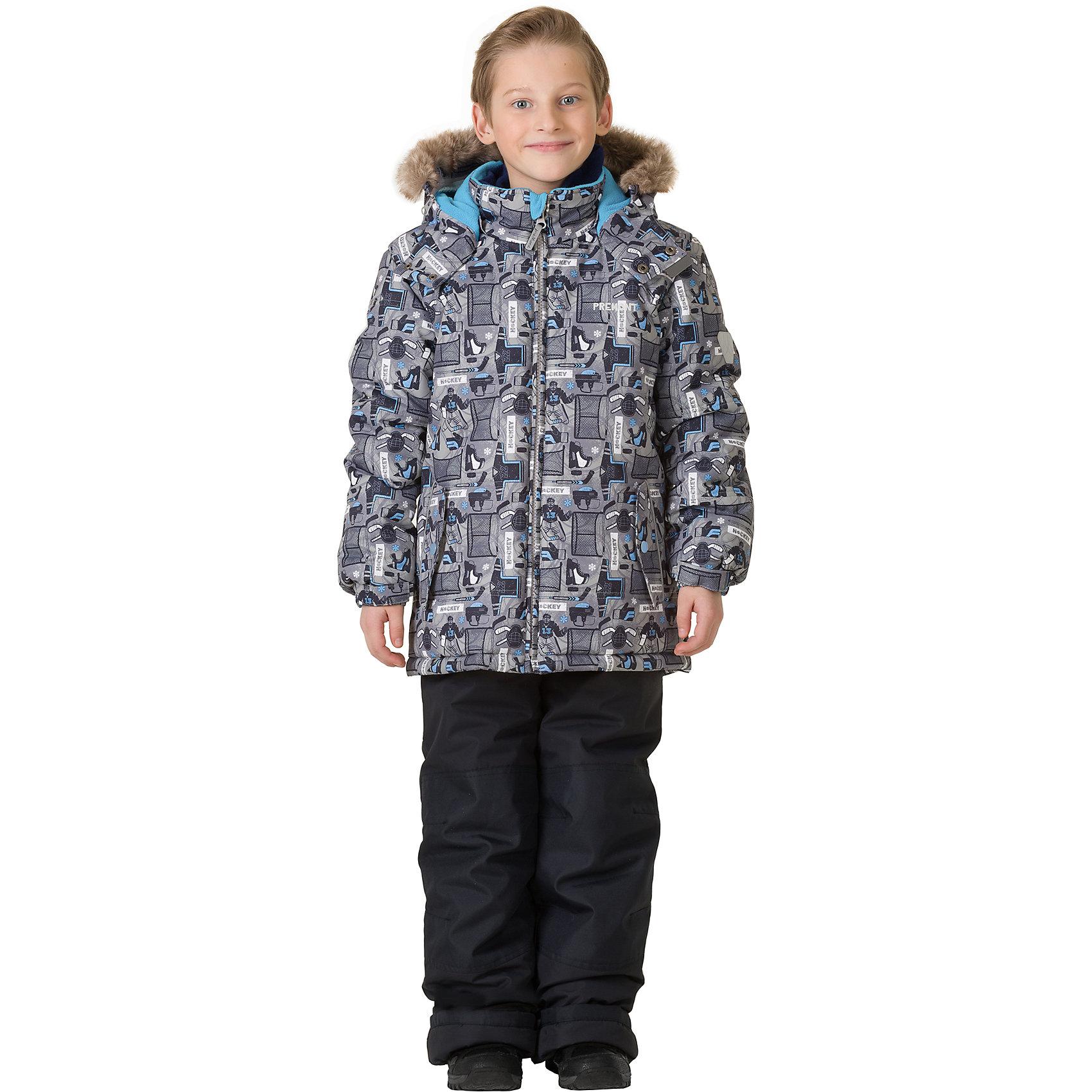 Комплект: куртка и брюки Premont для мальчикаВерхняя одежда<br>Характеристики товара:<br><br>• цвет: серый<br>• комплектация: куртка и брюки<br>• состав ткани: Taslan<br>• подкладка: Polar fleece, Taffeta<br>• утеплитель: Tech-polyfill<br>• сезон: зима<br>• мембранное покрытие<br>• температурный режим: от -30 до +5<br>• водонепроницаемость: 5000 мм <br>• паропроницаемость: 5000 г/м2<br>• плотность утеплителя: куртка - 280 г/м2, брюки - 180 г/м2<br>• капюшон: съемный<br>• искусственный мех на капюшоне отстегивается<br>• застежка: молния<br>• страна бренда: Канада<br>• страна изготовитель: Китай<br><br>Детский теплый комплект предусматривает множество деталей. Он дополнен эластичными манжетами, светоотражающими элементами, лямками, планкой от ветра и карманами на липучках. Такой мембранный комплект для ребенка состоит из куртки с капюшоном и брюк. Теплый зимний детский комплект сделан с применением мембранной технологии.<br><br>Комплект: куртка и брюки для мальчика Premont (Премонт) можно купить в нашем интернет-магазине.<br><br>Ширина мм: 356<br>Глубина мм: 10<br>Высота мм: 245<br>Вес г: 519<br>Цвет: серый<br>Возраст от месяцев: 156<br>Возраст до месяцев: 168<br>Пол: Мужской<br>Возраст: Детский<br>Размер: 164,122,100,104,110,116,120,128,140,152<br>SKU: 7088386