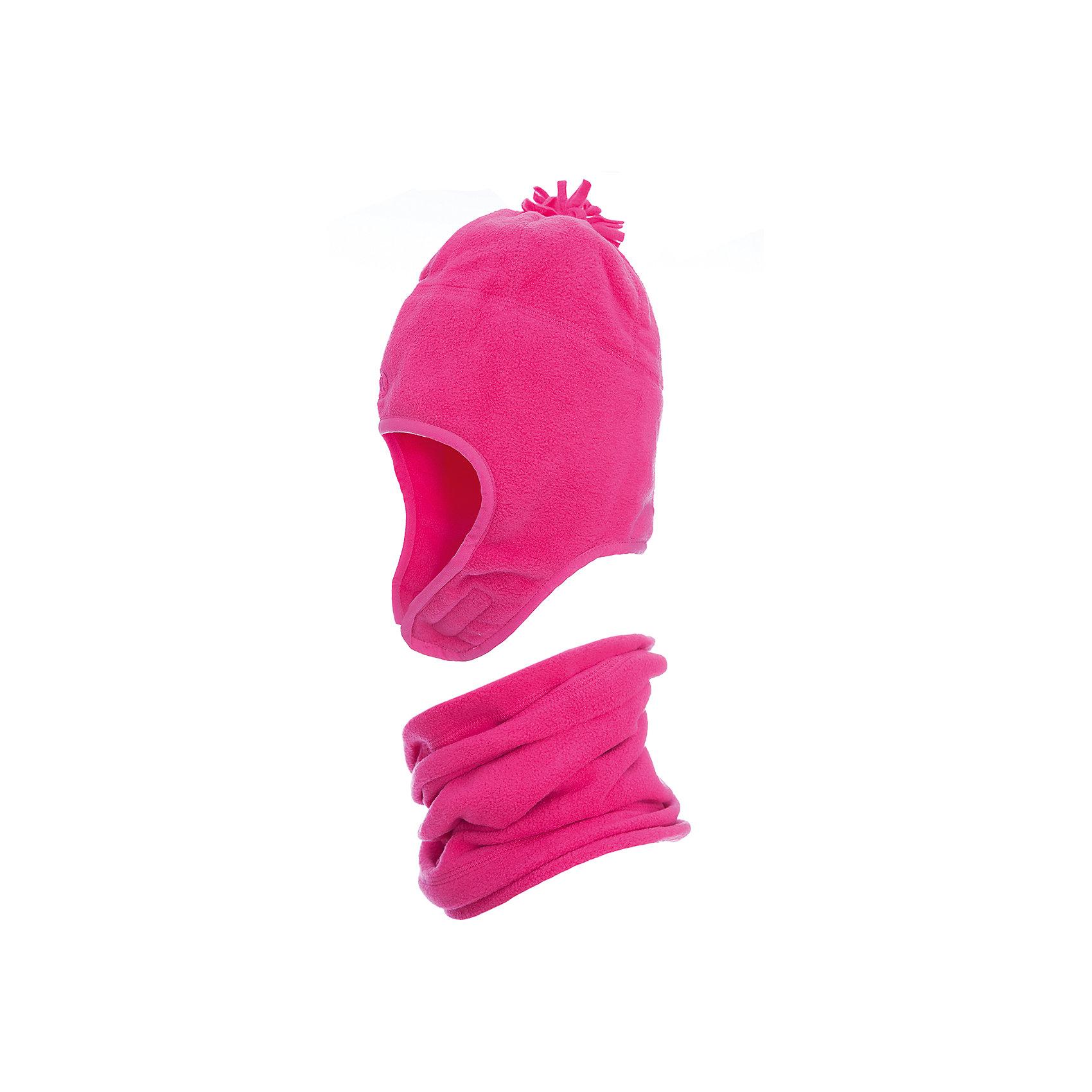 Комплект: шапка и шарф Premont для девочкиГоловные уборы<br>Характеристики товара:<br><br>• цвет: розовый<br>• комплектация: шапка и шарф <br>• состав ткани: флис, Polar fleece<br>• подкладка: флис, Polar fleece<br>• сезон: демисезон<br>• температурный режим: от -10 до +5<br>•  двойной флис в зоне ушей и лба<br>• застежка: липучка<br>• страна бренда: Канада<br>• страна изготовитель: Китай<br><br>Этот  детский комплект сшит из мягкого теплого флиса. Модный зимний комплект для ребенка состоит из оригинальной шапки и шарфа-снуда. Детский теплый шарф-снуд ребенок легко наденет самостоятельно. Шапка с помпоном - на липучке.  <br><br>Комплект: шапка и шарф для девочки  Premont (Премонт) можно купить в нашем интернет-магазине.<br><br>Ширина мм: 89<br>Глубина мм: 117<br>Высота мм: 44<br>Вес г: 155<br>Цвет: розовый<br>Возраст от месяцев: 60<br>Возраст до месяцев: 120<br>Пол: Женский<br>Возраст: Детский<br>Размер: 54,48,50,52<br>SKU: 7088443