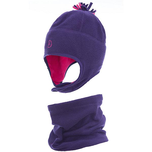 Комплект: шапка и шарф Premont для девочкиГоловные уборы<br>Характеристики товара:<br><br>• цвет: фиолетовый<br>• комплектация: шапка и шарф <br>• состав ткани: флис, Polar fleece<br>• подкладка: флис, Polar fleece<br>• сезон: демисезон<br>• температурный режим: от -10 до +5<br>•  двойной флис в зоне ушей и лба<br>• застежка: липучка<br>• страна бренда: Канада<br>• страна изготовитель: Китай<br><br>Такой комплект для ребенка поможет обеспечить тепло в межсезонье и небольшой мороз. Он состоит из оригинальной шапки и шарфа-снуда. Теплый детский комплект сделан из мягкого флиса. Детский теплый шарф легко надевается. Шапка фиксируется с помощью липучки.<br><br>Комплект: шапка и шарф для девочки  Premont (Премонт) можно купить в нашем интернет-магазине.<br>Ширина мм: 89; Глубина мм: 117; Высота мм: 44; Вес г: 155; Цвет: фиолетовый; Возраст от месяцев: 12; Возраст до месяцев: 24; Пол: Женский; Возраст: Детский; Размер: 48,54,52,50; SKU: 7088448;