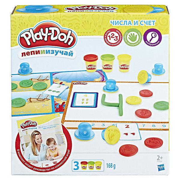 Набор пластилина Hasbro Play-Doh Цифры и числаНаборы для лепки<br>Характеристики товара:<br><br>• возраст: от 2 лет;<br>• в комплекте: 8 штампов, 2 двусторонних развивающих коврика, 10 карт, 3 баночки пластилина Play-doh;<br>• размер упаковки: 21х22х6 см;<br>• вес упаковки: 520 гр.;<br>• страна производитель: Китай.<br><br>Игровой набор Play-Doh «Цифры и числа» позволит малышам в игровой форме познакомиться с цифрами и простыми арифметическими правилами. В набор входят карточки для заданий, штампы с животными и пластилин для лепки. В процессе ребенок сможет выполнять разнообразные задания: считать, располагать карточки с цифрами в порядке возрастания, сравнивать и другие.<br><br>Из пластилина можно вылепить собственные фигурки, проявляя свои творческие способности. Пластилин Play-Doh хорошо мнется, не прилипает к рукам и одежде, не оставляет следов. В составе пластилина только натуральные компоненты, поэтому он совершенно безопасен для ребенка.<br><br>Игровой набор Play-Doh «Цифры и числа» можно приобрести в нашем интернет-магазине.<br><br>Ширина мм: 9999<br>Глубина мм: 9999<br>Высота мм: 9999<br>Вес г: 9999<br>Возраст от месяцев: 24<br>Возраст до месяцев: 120<br>Пол: Унисекс<br>Возраст: Детский<br>SKU: 7089655