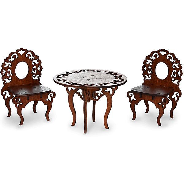 Комплект мебели ЯиГрушка Стол с двумя стульямиМебель для кукол<br>Характеристики товара:<br><br>• возраст: от 4 лет;<br>• материал: дерево (фанера);<br>• серия: одним прекрасным утром;<br>• в наборе: стол и 2 стула;<br>• высота стола: 6,5 см;<br>• высота стульев: 9см;<br>• размер упаковки: 20.5х13х12см;<br>• страна производства: Россия.<br><br>Комплект мебели из столика и двух стульчиков украсит обстановку игрушечной  гостиной!<br><br>Стульчики и столик - гармоничный комплект мебели, выполненный в едином стиле. Ножки стульчиков и столика плавно изогнуты, а спинки и круглая столешница украшены изысканной резьбой.<br><br>Комплект мебели ЯиГрушка Стол с двумя стульями можно купить в нашем интернет-магазине.<br>Ширина мм: 9999; Глубина мм: 9999; Высота мм: 9999; Вес г: 9999; Возраст от месяцев: 48; Возраст до месяцев: 2147483647; Пол: Женский; Возраст: Детский; SKU: 7089688;