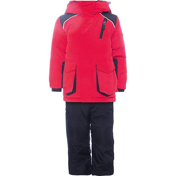 Комплект: куртка и полукомбинезон BOOM by Orby для мальчикаВерхняя одежда<br>Характеристики товара:<br><br>• цвет: черный<br>• комплектация: куртка, полукомбинезон <br>• состав ткани: твил pu milky<br>• подкладка: хлопок, флис, полиэстер пуходержащий<br>• утеплитель: Flexy Fiber, эко синтепон<br>• сезон: зима<br>• температурный режим: от -25 до -5<br>• плотность утеплителя: куртка - 400 г/м2, полукомбинезон - 200 г/м2<br>• капюшон: без меха<br>• застежка: молния<br>• страна бренда: Россия<br>• страна изготовитель: Россия<br><br>Плотная ткань верха и утеплитель детского зимнего комплекта надежно защищают от холода. Такой зимний детский комплект создан специально для мальчиков. Теплый комплект для мальчика легко чистится. Зимний комплект для детей поможет обеспечить ребенку комфорт. Детский теплый комплект украшен оригинальным декором. <br><br>Комплект: куртка и полукомбинезон для мальчика BOOM by Orby (Бум бай Орби) можно купить в нашем интернет-магазине.<br>Ширина мм: 356; Глубина мм: 10; Высота мм: 245; Вес г: 519; Цвет: красный; Возраст от месяцев: 12; Возраст до месяцев: 18; Пол: Мужской; Возраст: Детский; Размер: 86,122,116,110,92,98,104; SKU: 7090692;