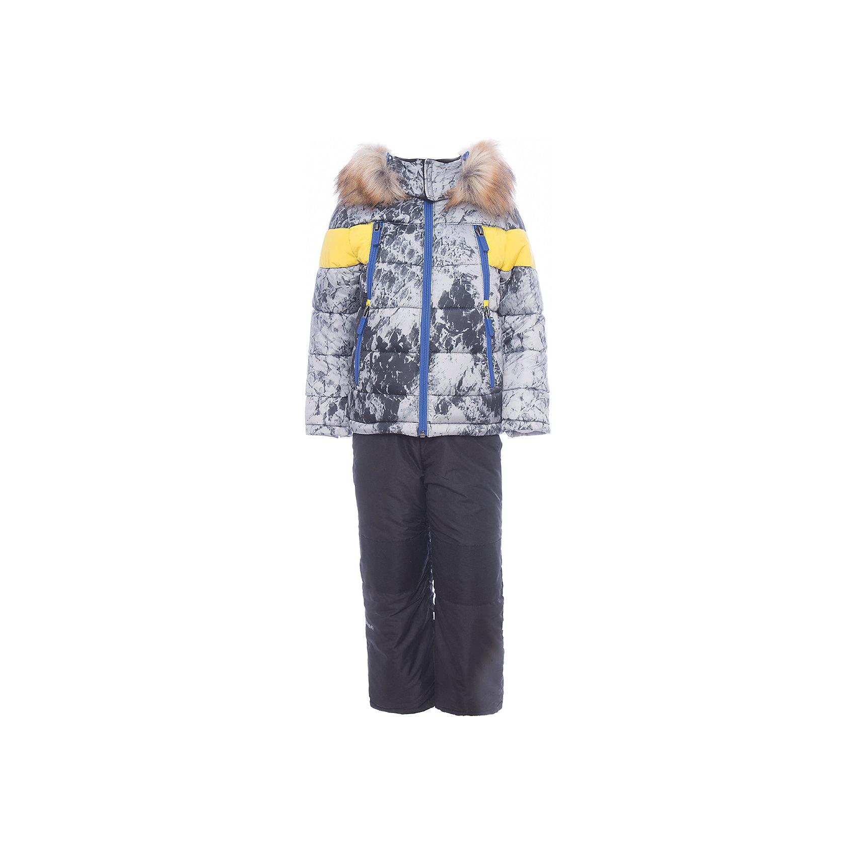 Комплект: куртка и полукомбинезон BOOM by Orby для мальчикаВерхняя одежда<br>Характеристики товара:<br><br>• цвет: синий<br>• комплектация: куртка, полукомбинезон <br>• состав ткани: таффета pu milky<br>• подкладка: хлопок, флис, полиэстер пуходержащий<br>• утеплитель: эко синтепон<br>• сезон: зима<br>• температурный режим: от 0 до -30С<br>• плотность утеплителя: куртка - 400 г/м2, полукомбинезон - 200 г/м2<br>• капюшон: с мехом<br>• застежка: молния<br>• страна бренда: Россия<br>• страна изготовитель: Россия<br><br>Этот зимний комплект для детей состоит из куртки и полукомбинезона. Теплая зимняя куртка для ребенка дополнена капюшоном с опушкой. Комплект для мальчика дополнен удобными карманами. Этот зимний детский комплект декорирован стильным принтом. <br><br>Комплект: куртка и полукомбинезон для мальчика BOOM by Orby (Бум бай Орби) можно купить в нашем интернет-магазине.<br><br>Ширина мм: 356<br>Глубина мм: 10<br>Высота мм: 245<br>Вес г: 519<br>Цвет: белый<br>Возраст от месяцев: 48<br>Возраст до месяцев: 60<br>Пол: Мужской<br>Возраст: Детский<br>Размер: 110,104,98,92,86,122,116<br>SKU: 7090734