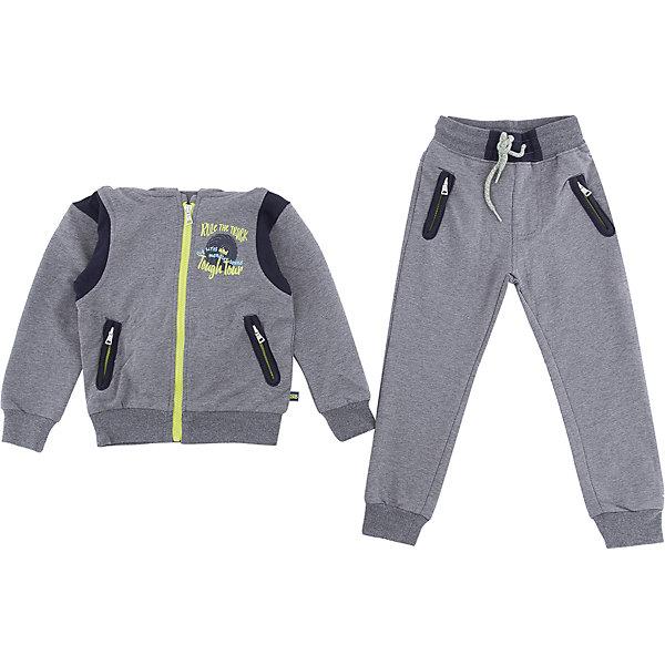 Комплект: толстовка и брюки Sweet Berry для мальчикаКомплекты<br>Характеристики товара:<br><br>• цвет: серый;<br>• комплектация: толстовка и брюки;<br>• состав материала: 95% хлопок, 5% эластан;<br>• сезон: демисезон;<br>• особенности модели: спортивный стиль;<br>• застежка: молния<br>• низ брючин на манжетах;<br>• пояс на резинке с дополнительным шнурком;<br>• страна бренда: Россия;<br>• страна производства: Китай.<br><br>Трикотажный комплект для мальчика состоящий из толстовки и брюк. Толстовка серого цвета с капюшоном и контрастной отделкой декорированная принтом. Застегивается на молнию. Трикотажные брюки для мальчика, низ брючин собран на мягкие манжеты. Два прорезных кармана на молнии. Пояс-резинка дополнен шнуром для регулирования объема по талии.<br><br>Комплект: толстовка и брюки Sweet Berry (Свит Берри) для мальчика можно купить в нашем интернет-магазине.<br>Ширина мм: 190; Глубина мм: 74; Высота мм: 229; Вес г: 236; Цвет: серый; Возраст от месяцев: 84; Возраст до месяцев: 96; Пол: Мужской; Возраст: Детский; Размер: 128,98,104,110,116,122; SKU: 7093709;