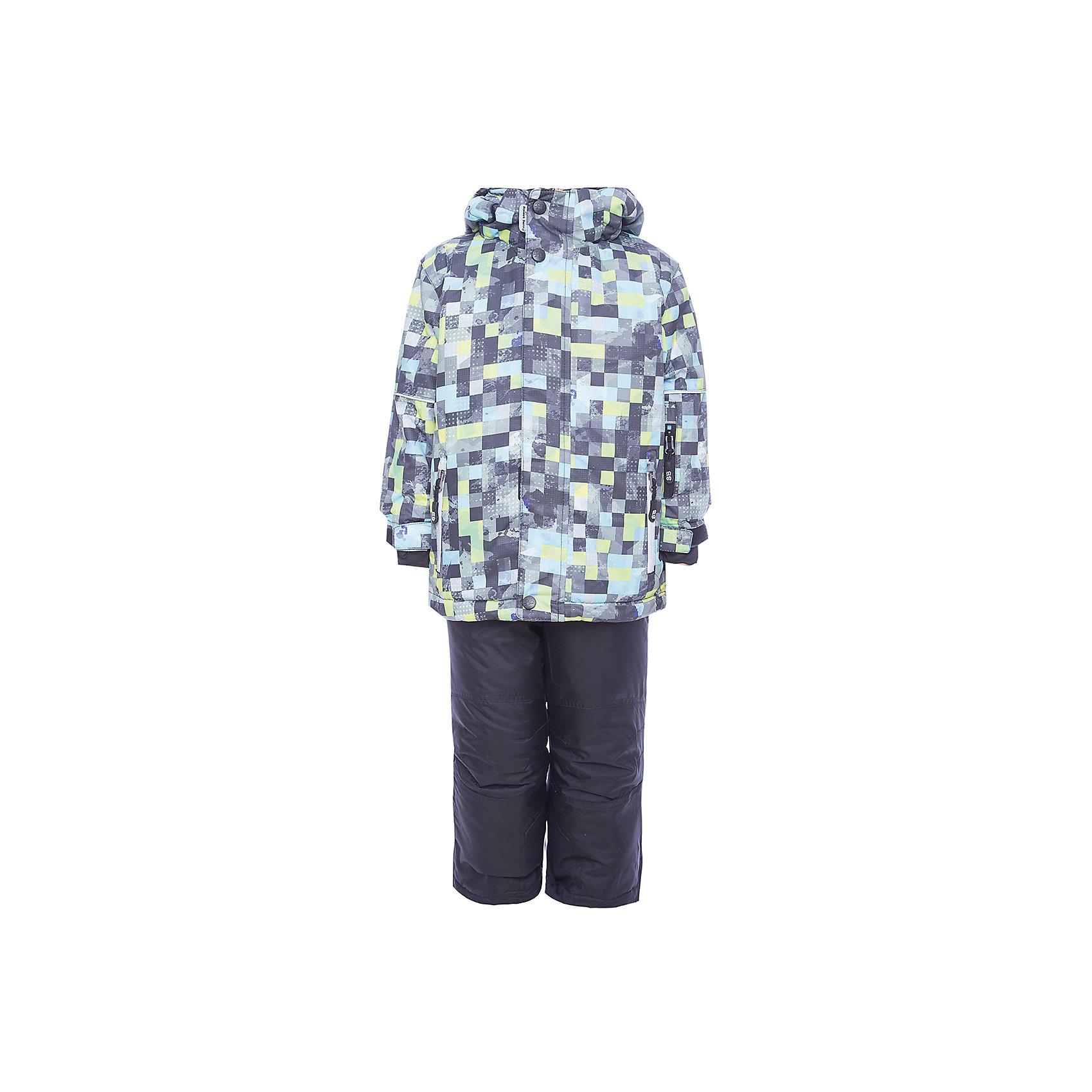 Комплект: куртка и брюки Sweet Berry для мальчикаВерхняя одежда<br>Комплект: куртка и брюки Sweet Berry для мальчика<br>Комфортный и теплый костюм  для мальчика из мембранной ткани. В конструкции учтены физиологические особенности малыша. Съемный капюшон на молниях с дополнительной утяжкой, спереди установлены две кнопки.  Рукава с манжетами, регулируются липучкой. На куртке два кармана, застегивающиеся на молнию. Застежка-молния с внешней ветрозащитной планкой. Брюки на регулируемых подтяжках гарантируют посадку по фигуре.  Колени, задняя поверхность бедер и низ брюк дополнительно усилены сверхпрочным материалом. Силиконовые отстегивающиеся штрипки на брючинах. Ткань верха: мембрана 5000мм/5000г/м2/24h, waterproof, водонепроницаемая с грязеотталкивающей пропиткой.<br>Пoдкладка: флис<br>Утеплитель: синтетический утеплитель 220 г/м? (куртка),<br>180 г/м? (рукава, п/комбинезон). Температурный режим: от -35 до +5 С<br>Состав:<br>Верх: куртка: 100%полиэстер, брюки:  100%нейлон.  Подкладка: 100%полиэстер. Наполнитель: 100%полиэстер<br><br>Ширина мм: 356<br>Глубина мм: 10<br>Высота мм: 245<br>Вес г: 519<br>Цвет: черный<br>Возраст от месяцев: 96<br>Возраст до месяцев: 108<br>Пол: Мужской<br>Возраст: Детский<br>Размер: 134,92,98,104,110,116,122,128<br>SKU: 7093814