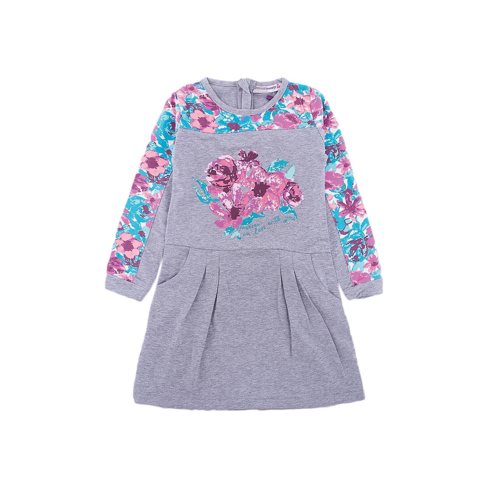 Платье Sweet Berry для девочкиПлатья и сарафаны<br>Платье Sweet Berry для девочки<br>Стильное трикотажное платье с длинным рукавом для девочки из хлопкового полотна декорированное цветочным принтом. Застегивается на потайную молнию.<br>Состав:<br>95% хлопок, 5% эластан<br><br>Ширина мм: 236<br>Глубина мм: 16<br>Высота мм: 184<br>Вес г: 177<br>Цвет: серый<br>Возраст от месяцев: 24<br>Возраст до месяцев: 36<br>Пол: Женский<br>Возраст: Детский<br>Размер: 98,128,122,116,110,104<br>SKU: 7093971
