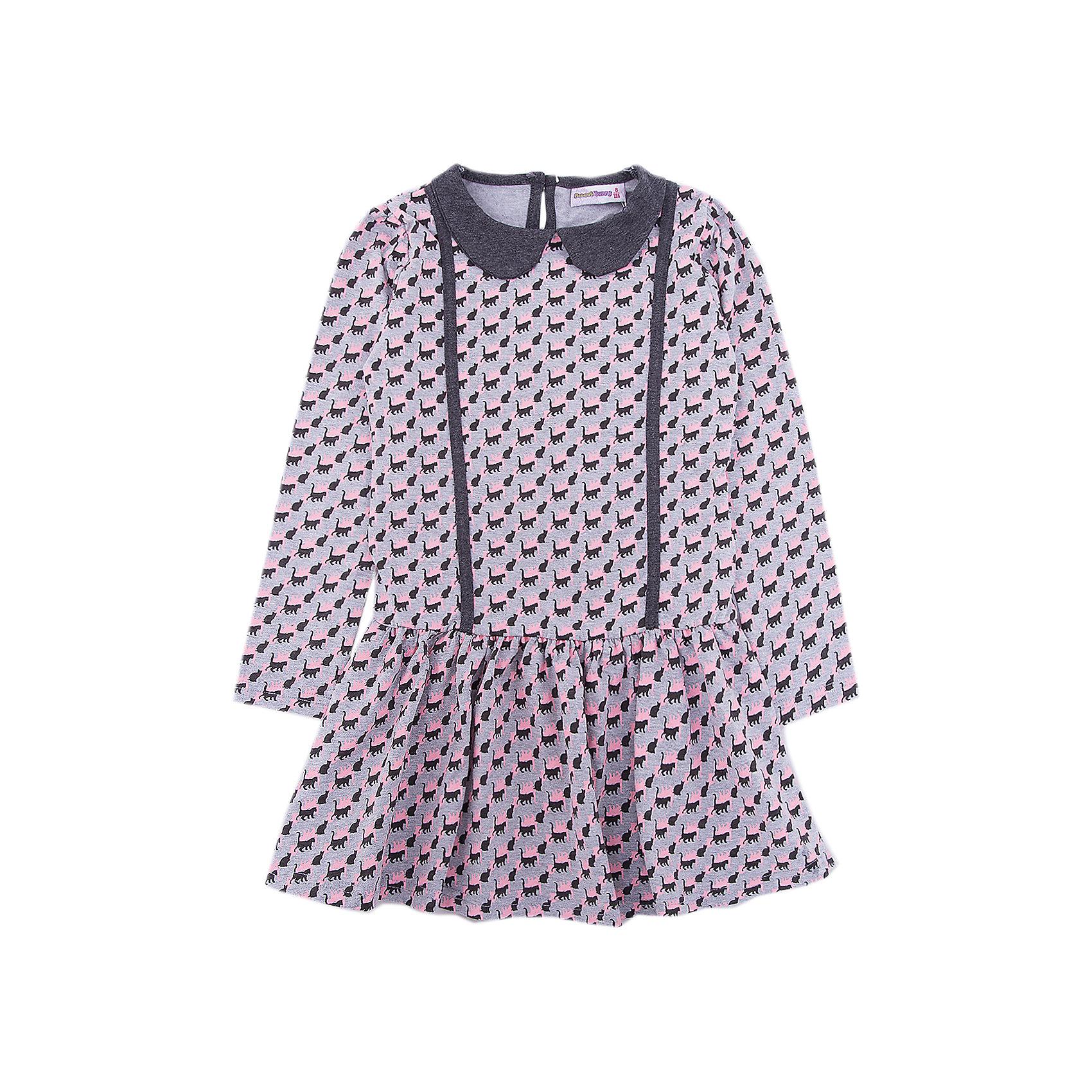 Платье Sweet Berry для девочкиПлатья и сарафаны<br>Платье Sweet Berry для девочки<br>Трикотажное платье для девочки из мягкой хлопковой ткани с печатным рисунком, отложным воротничком. Застегивается на спинке на пуговку.<br>Состав:<br>95% хлопок, 5% эластан<br><br>Ширина мм: 236<br>Глубина мм: 16<br>Высота мм: 184<br>Вес г: 177<br>Цвет: серый<br>Возраст от месяцев: 84<br>Возраст до месяцев: 96<br>Пол: Женский<br>Возраст: Детский<br>Размер: 128,98,104,110,116,122<br>SKU: 7094115