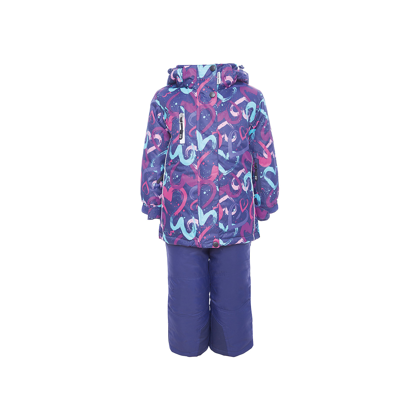 Комплект: куртка и полукомбинезон Sweet Berry для девочкиКомплекты<br>Комплект: куртка и полукомбинезон Sweet Berry для девочки<br>Комфортный и теплый костюм  для девочки из мембранной ткани. В конструкции учтены физиологические особенности малыша. Съемный капюшон на молниях с дополнительной утяжкой, спереди установлены две кнопки.  Рукава с манжетами, регулируются липучкой. На куртке два кармана, застегивающиеся на молнию. Застежка-молния с внешней ветрозащитной планкой. Брюки на регулируемых подтяжках гарантируют посадку по фигуре.  Колени, задняя поверхность бедер и низ брюк дополнительно усилены сверхпрочным материалом. Силиконовые отстегивающиеся штрипки на брючинах. Ткань верха: мембрана 5000мм/5000г/м2/24h, waterproof, водонепроницаемая с грязеотталкивающей пропиткой.<br>Пoдкладка: флис<br>Утеплитель: синтетический утеплитель 220 г/м? (куртка),<br>180 г/м? (рукава, п/комбинезон). Температурный режим: от -35 до +5 С<br>Состав:<br>Верх: куртка: 100%полиэстер, полукомбинезон:  100%нейлон.  Подкладка: 100%полиэстер. Наполнитель: 100%полиэстер<br><br>Ширина мм: 356<br>Глубина мм: 10<br>Высота мм: 245<br>Вес г: 519<br>Цвет: лиловый<br>Возраст от месяцев: 96<br>Возраст до месяцев: 108<br>Пол: Женский<br>Возраст: Детский<br>Размер: 110,116,122,128,134,92,98,104<br>SKU: 7094143