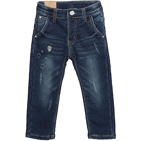Брюки Sweet Berry для девочкиДжинсы и брючки<br>Брюки Sweet Berry для девочки<br>Утепленные джинсовые брюки для девочки на флисовой подкладке, декорированные оригинальной вышивкой и потертостями. Прямой крой, средняя посадка. Застегиваются на молнию и пуговицу. Шлевки на поясе рассчитаны под ремень. В боковой части пояса находятся вшитые эластичные ленты, регулирующие посадку по талии.<br>Состав:<br>Основная ткань: 97% хлопок, 3% спандекс Подкладка: 100% полиэстер<br><br>Ширина мм: 215<br>Глубина мм: 88<br>Высота мм: 191<br>Вес г: 336<br>Цвет: синий<br>Возраст от месяцев: 18<br>Возраст до месяцев: 24<br>Пол: Женский<br>Возраст: Детский<br>Размер: 92,86,80,98<br>SKU: 7094333