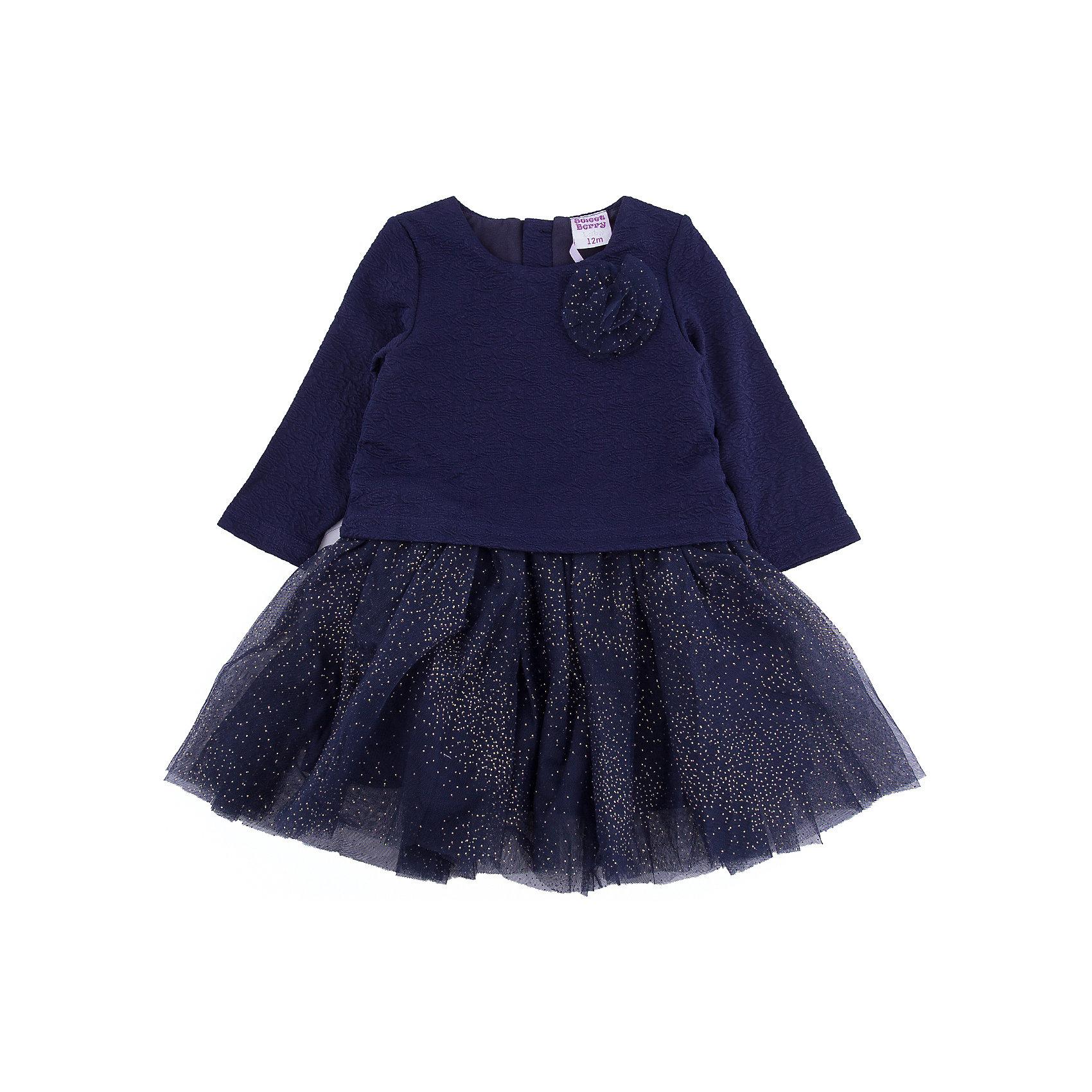 Платье Sweet Berry для девочкиПлатья<br>Платье Sweet Berry для девочки<br>Стильное платье для девочки с округлым вырезом, длинным рукавом декорированное цветком и фатиновой юбочкой с блестками. Хлопковая подкладка. Застежка на спинке на кнопках.<br>Состав:<br>Основная ткань: 100% полиэстер Подкладка: 100% хлопок<br><br>Ширина мм: 236<br>Глубина мм: 16<br>Высота мм: 184<br>Вес г: 177<br>Цвет: синий<br>Возраст от месяцев: 24<br>Возраст до месяцев: 36<br>Пол: Женский<br>Возраст: Детский<br>Размер: 98,80,86,92<br>SKU: 7094353