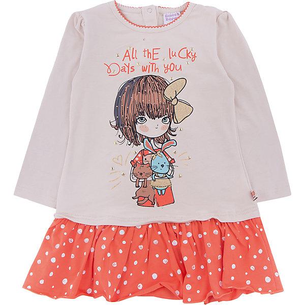 Платье Sweet Berry для девочкиПлатья<br>Платье Sweet Berry для девочки<br>Бежевое платье для девочки из трикотажного полотна декорированное модным принтом и контрастным воланом по низу изделия. Застегивается на кнопочки на спинке.<br>Состав:<br>95% хлопок, 5% эластан<br><br>Ширина мм: 236<br>Глубина мм: 16<br>Высота мм: 184<br>Вес г: 177<br>Цвет: бежевый<br>Возраст от месяцев: 12<br>Возраст до месяцев: 15<br>Пол: Женский<br>Возраст: Детский<br>Размер: 80,98,92,86<br>SKU: 7094408