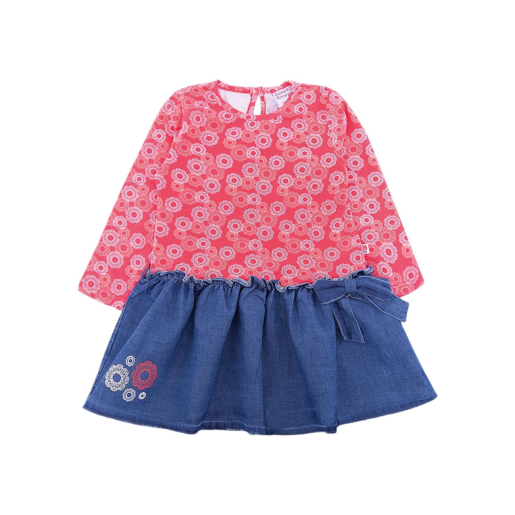 Платье Sweet Berry для девочкиПлатья<br>Платье Sweet Berry для девочки<br>Платье для девочки из мягкого комбинированного трикотажного полотна. Низ изделия декорирован цветочной вышивкой и бантиком. Застежка на пуговке на спинке.<br>Состав:<br>95% хлопок, 5% эластан<br><br>Ширина мм: 236<br>Глубина мм: 16<br>Высота мм: 184<br>Вес г: 177<br>Цвет: розовый<br>Возраст от месяцев: 24<br>Возраст до месяцев: 36<br>Пол: Женский<br>Возраст: Детский<br>Размер: 98,86,80,92<br>SKU: 7094593