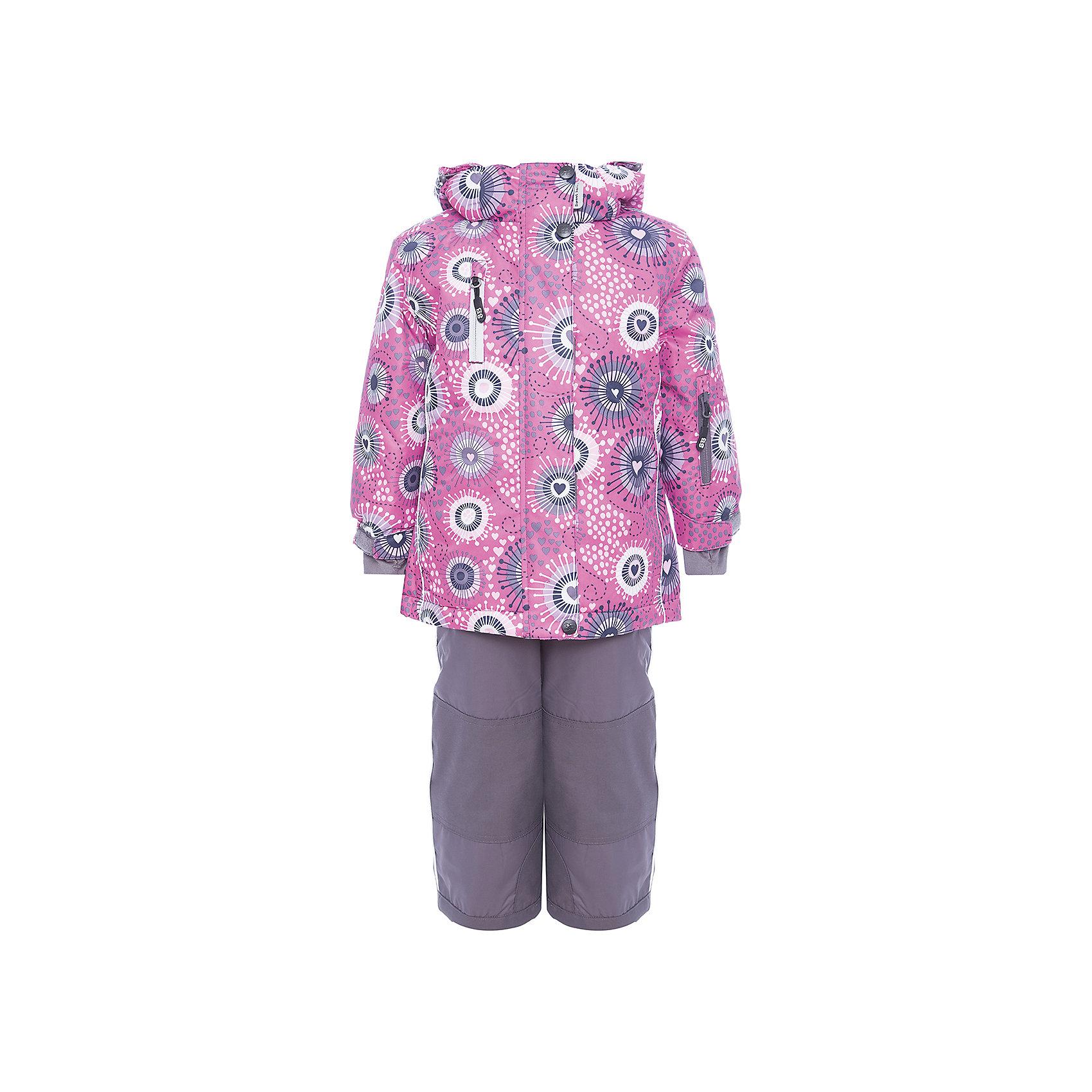 Комплект: куртка и полукомбинезон Sweet Berry для девочкиВерхняя одежда<br>Комплект: куртка и полукомбинезон Sweet Berry для девочки<br>Комфортный и теплый костюм  для девочки из мембранной ткани. В конструкции учтены физиологические особенности малыша. Съемный капюшон на молниях с дополнительной утяжкой, спереди установлены две кнопки.  Рукава с манжетами, регулируются липучкой. На куртке два кармана, застегивающиеся на молнию. Застежка-молния с внешней ветрозащитной планкой. Брюки на регулируемых подтяжках гарантируют посадку по фигуре.  Колени, задняя поверхность бедер и низ брюк дополнительно усилены сверхпрочным материалом. Силиконовые отстегивающиеся штрипки на брючинах. Ткань верха: мембрана 5000мм/5000г/м2/24h, waterproof, водонепроницаемая с грязеотталкивающей пропиткой.<br>Пoдкладка: флис<br>Утеплитель: синтетический утеплитель 220 г/м? (куртка),<br>180 г/м? (рукава, п/комбинезон). Температурный режим: от -35 до +5 С<br>Состав:<br>Верх: куртка: 100%полиэстер, полукомбинезон:  100%нейлон.  Подкладка: 100%полиэстер. Наполнитель: 100%полиэстер<br><br>Ширина мм: 356<br>Глубина мм: 10<br>Высота мм: 245<br>Вес г: 519<br>Цвет: розовый<br>Возраст от месяцев: 60<br>Возраст до месяцев: 72<br>Пол: Женский<br>Возраст: Детский<br>Размер: 116,92,98,104,110<br>SKU: 7094602